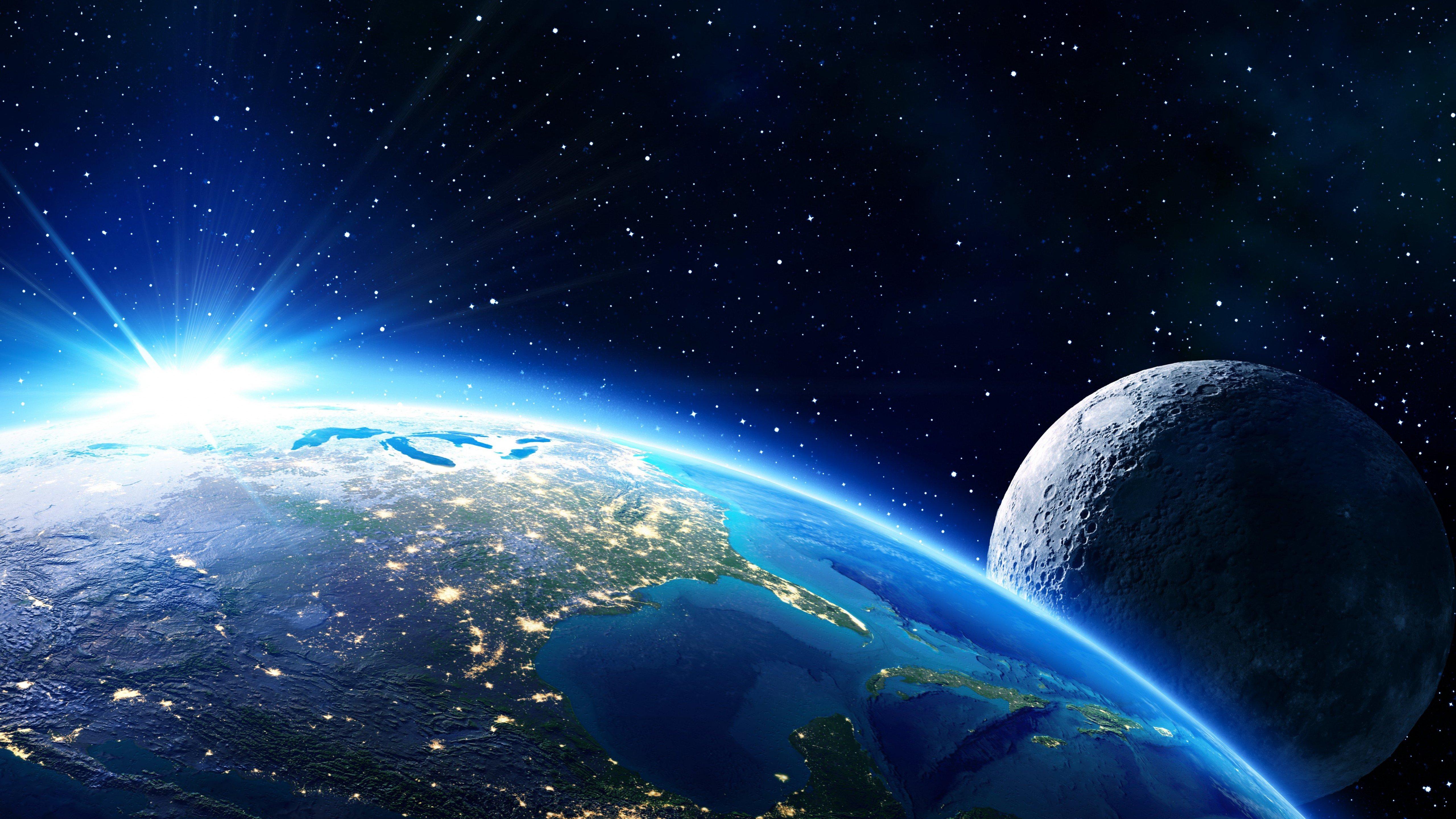 Fondos de pantalla Tierra y luna a la luz del sol