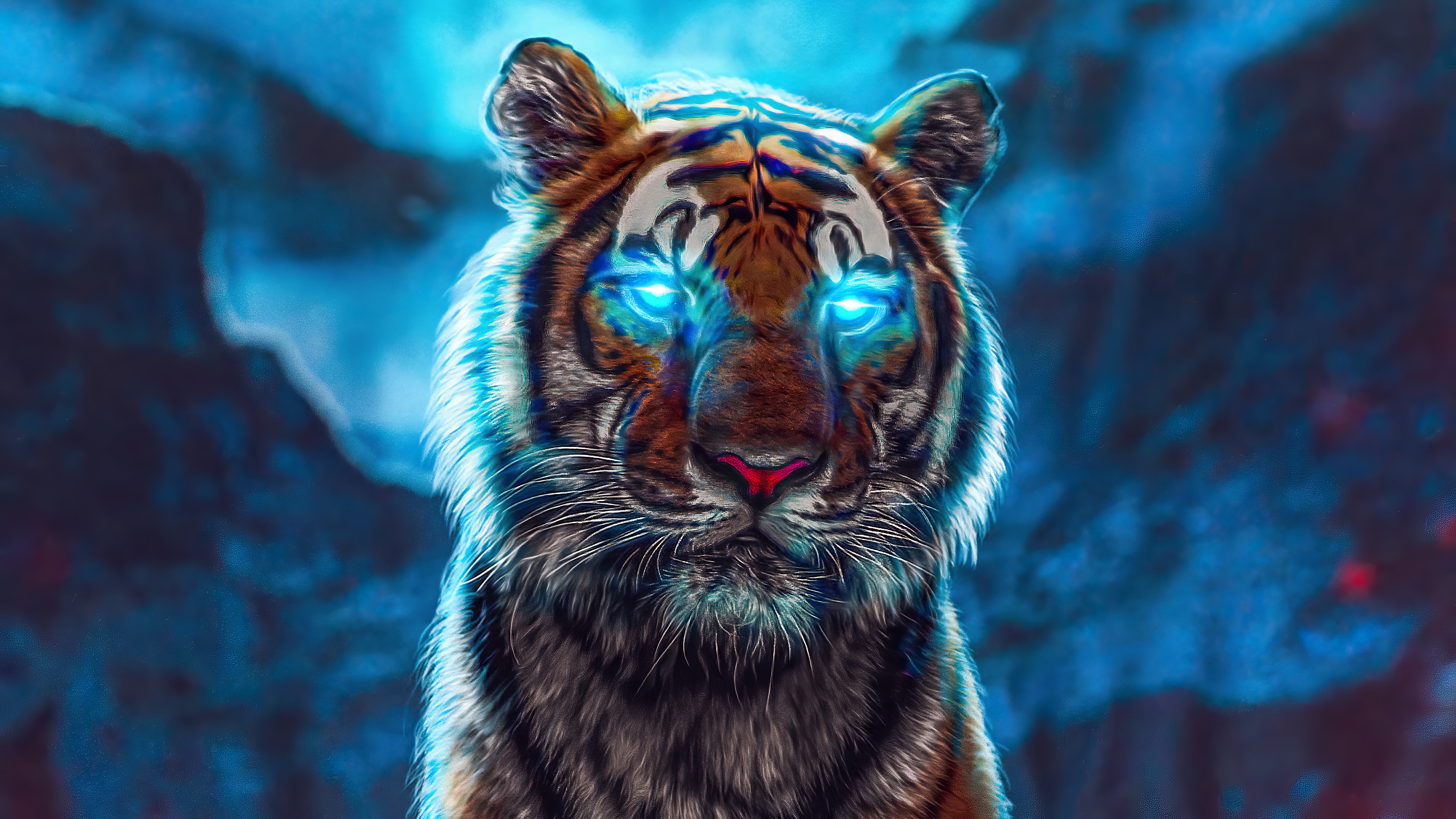 Fondos de pantalla Tigre con ojos iluminados de azul