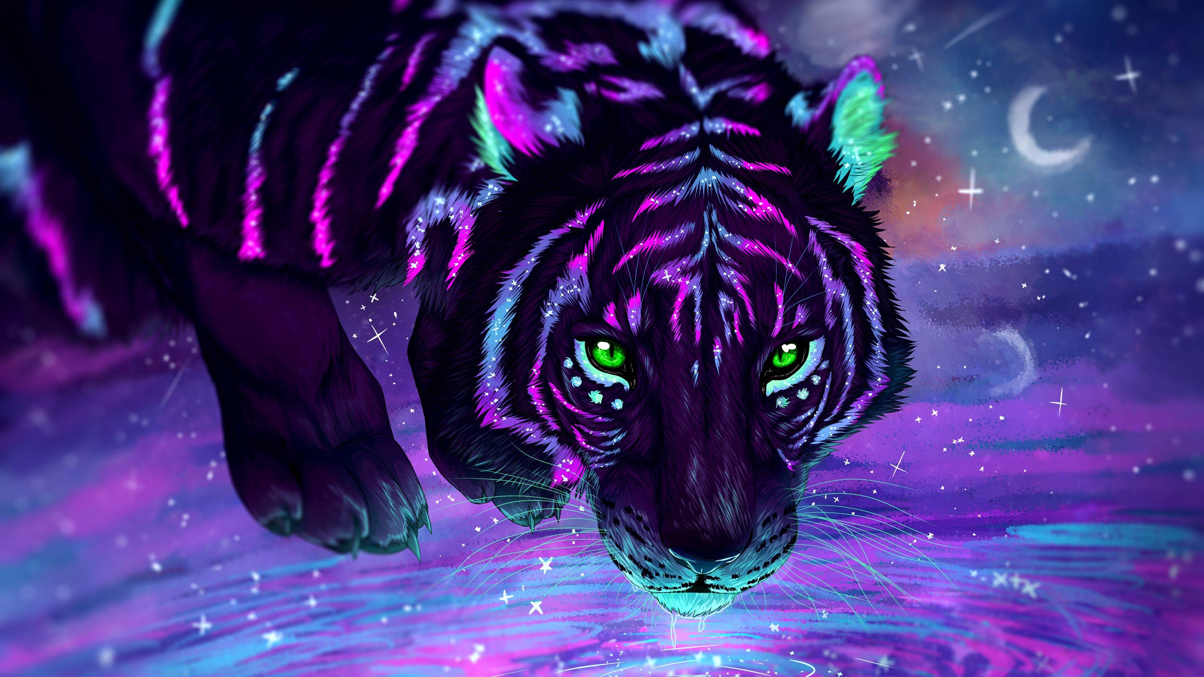 Fondos de pantalla Tigre de neón Artwork