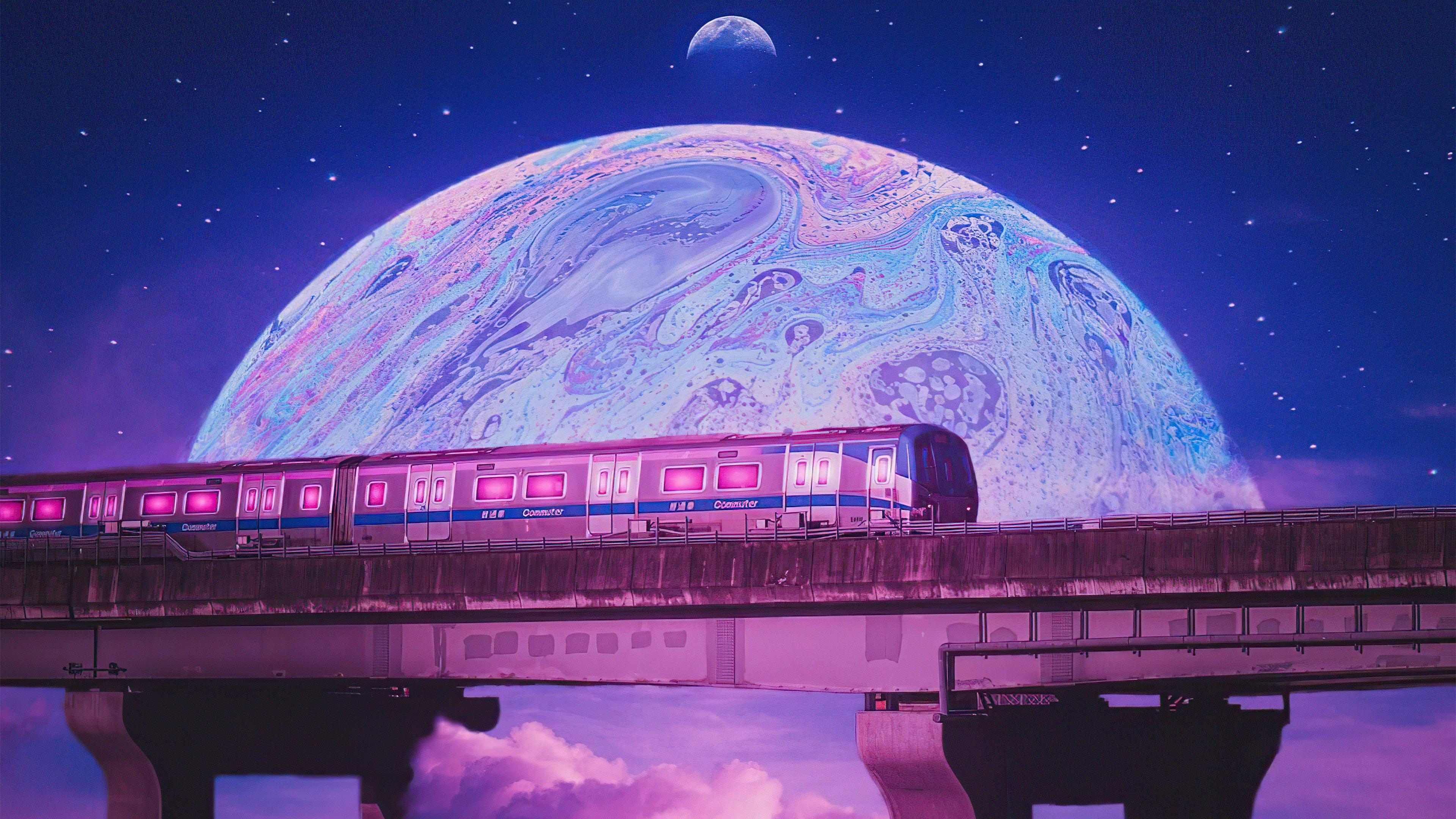 Wallpaper Train outside this planet