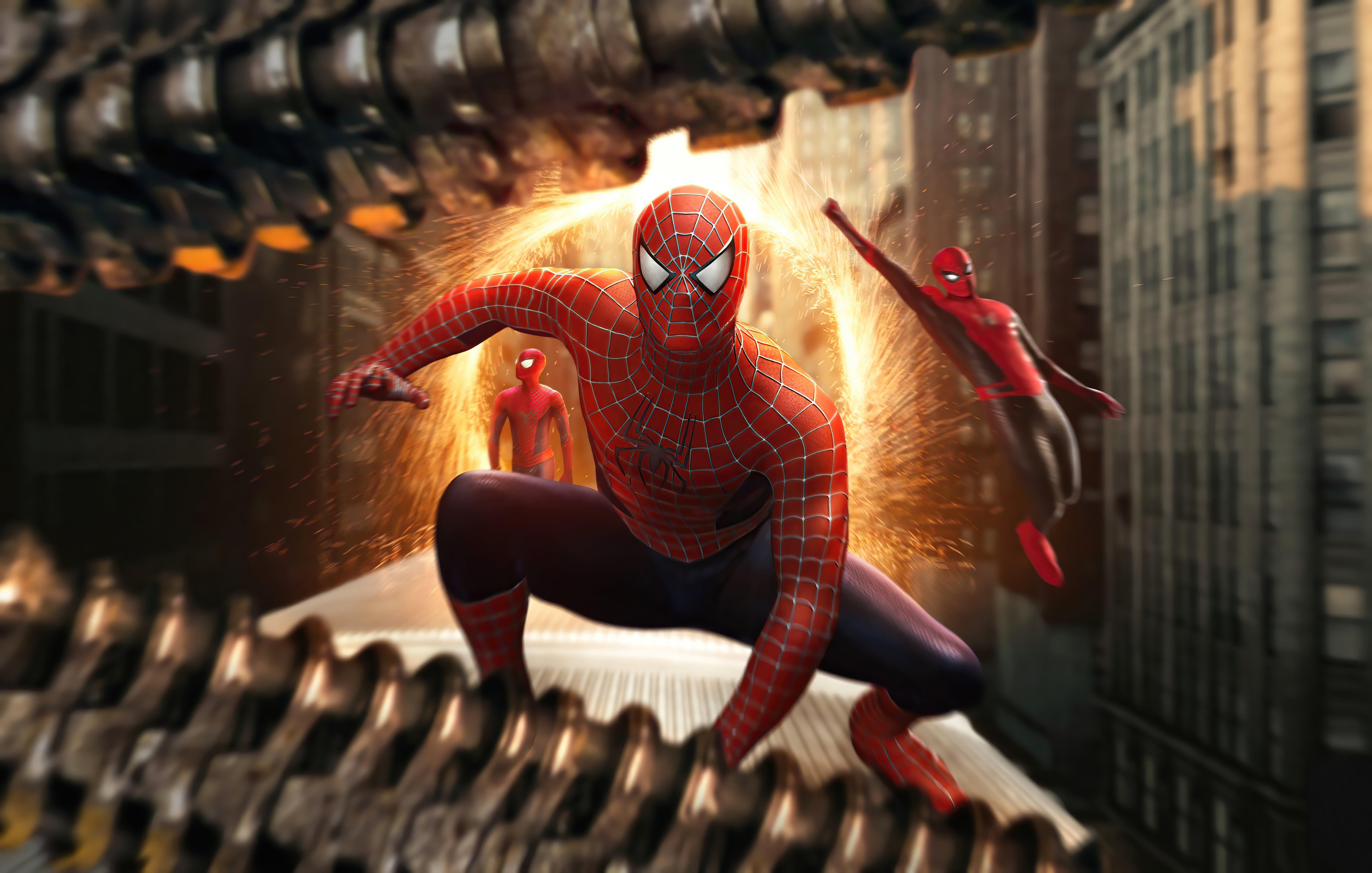 Wallpaper Triple Spider Man