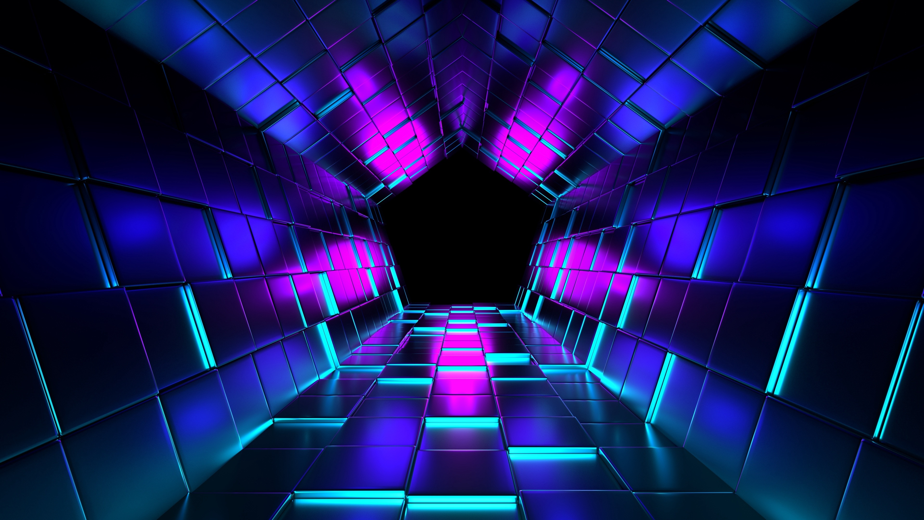 Fondos de pantalla Túnel Pentágono con luces de neón