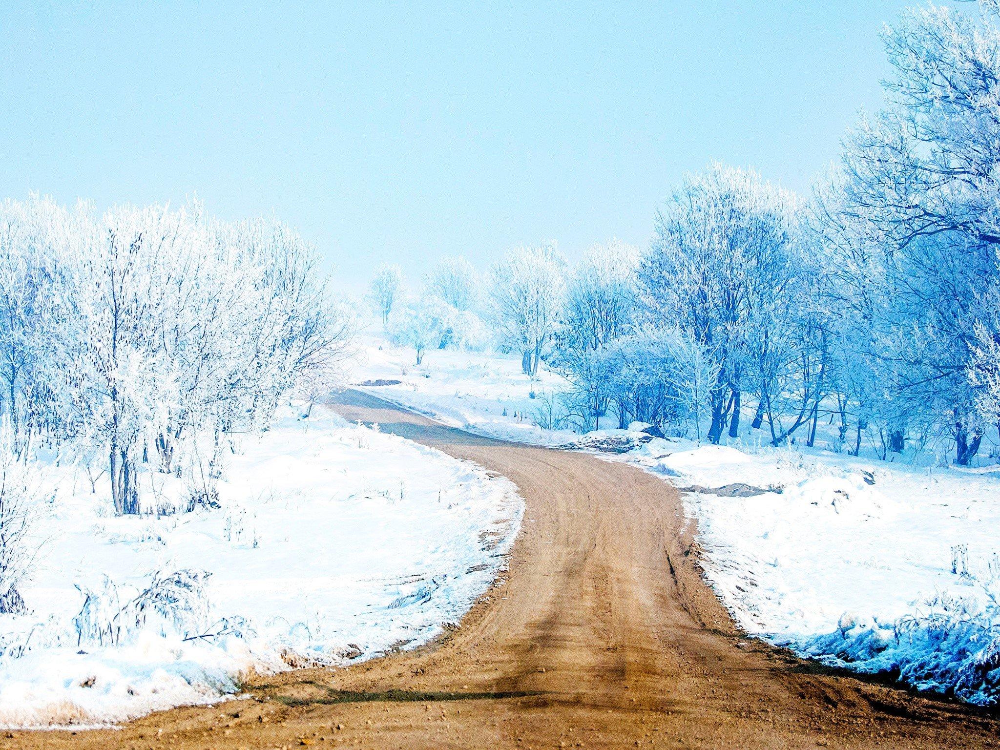 Wallpaper A path of snow