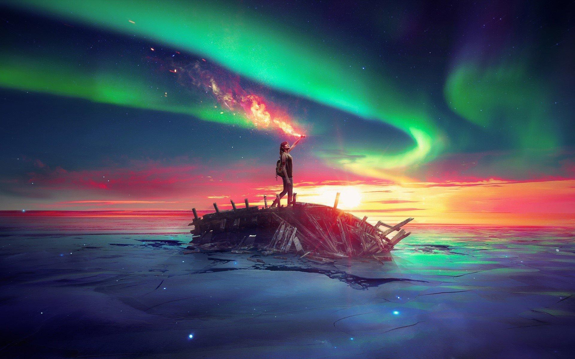 Fondo de pantalla de Un hombre en un barco en el cielo y mar Imágenes