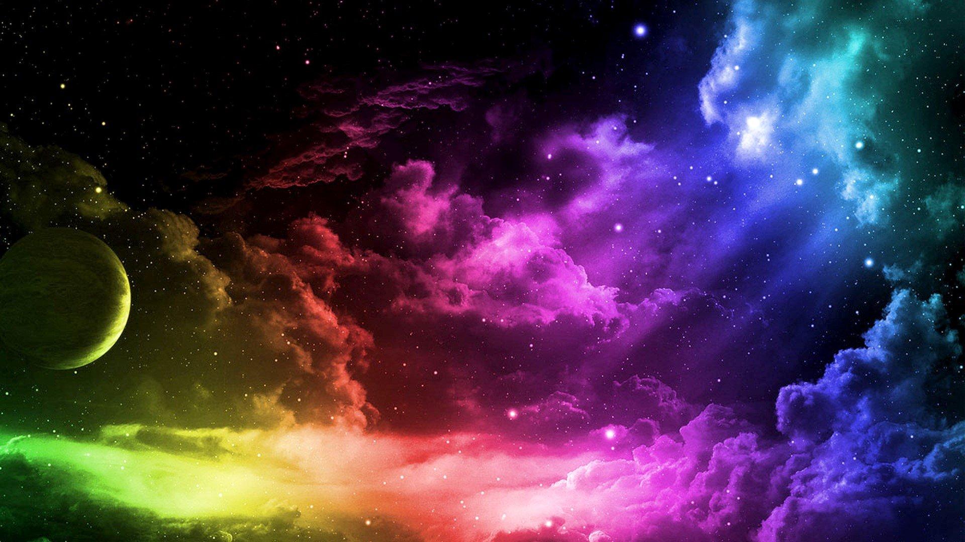 Fondos de pantalla Un universo de colores con nubes