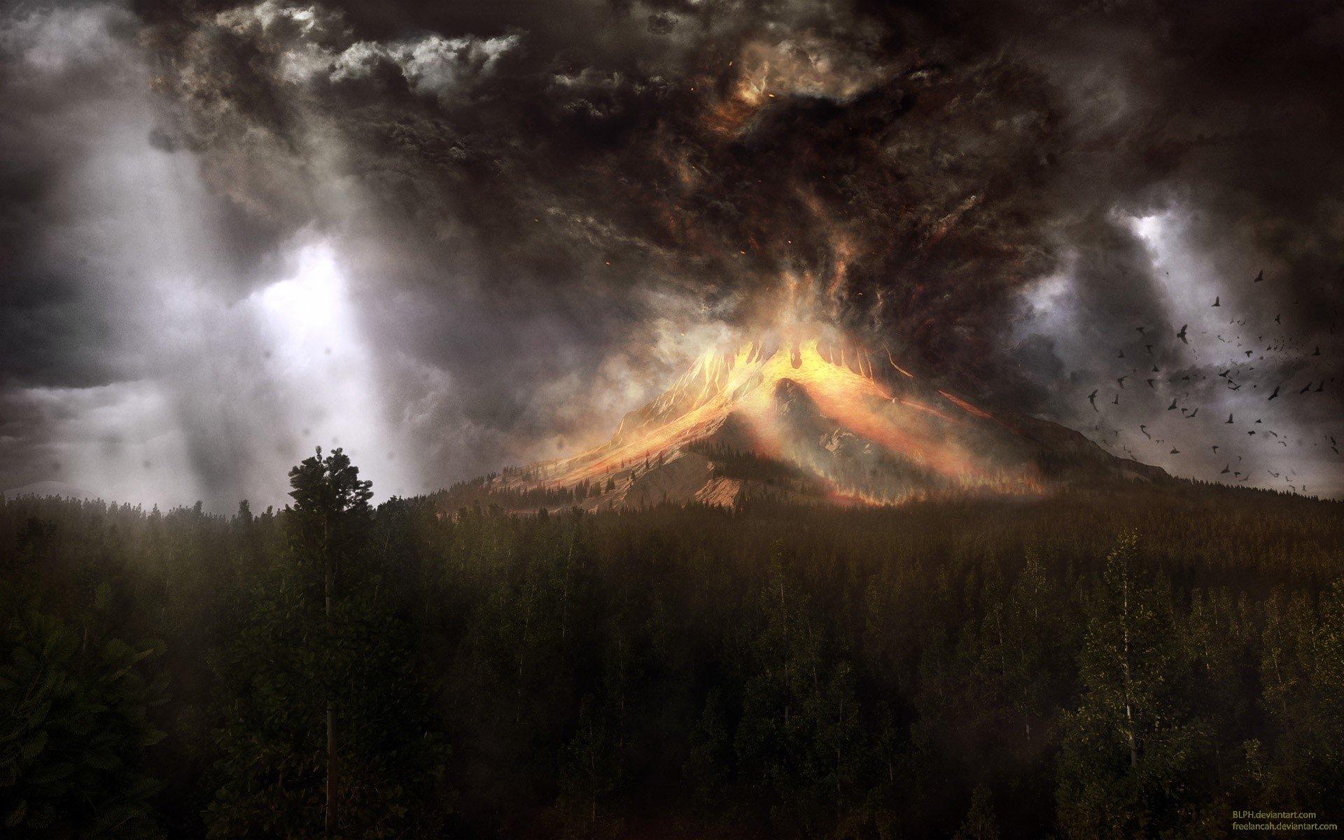 Wallpaper A volcano and smoke