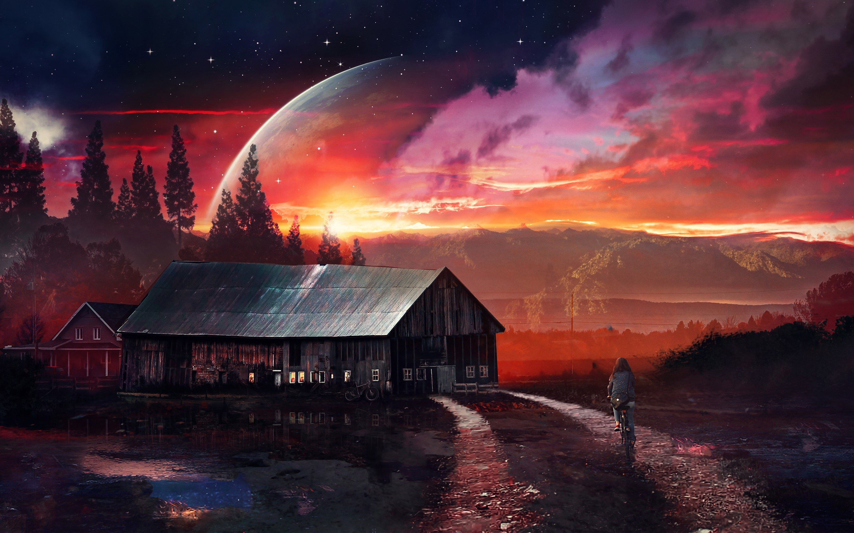 Wallpaper A house on a distant planet