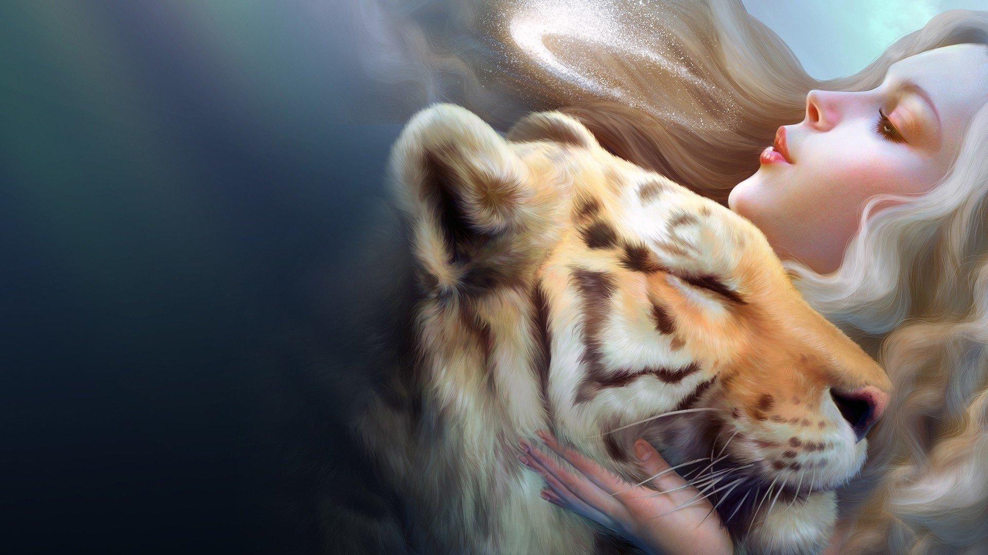 Wallpaper Una mujer con un tigre Images
