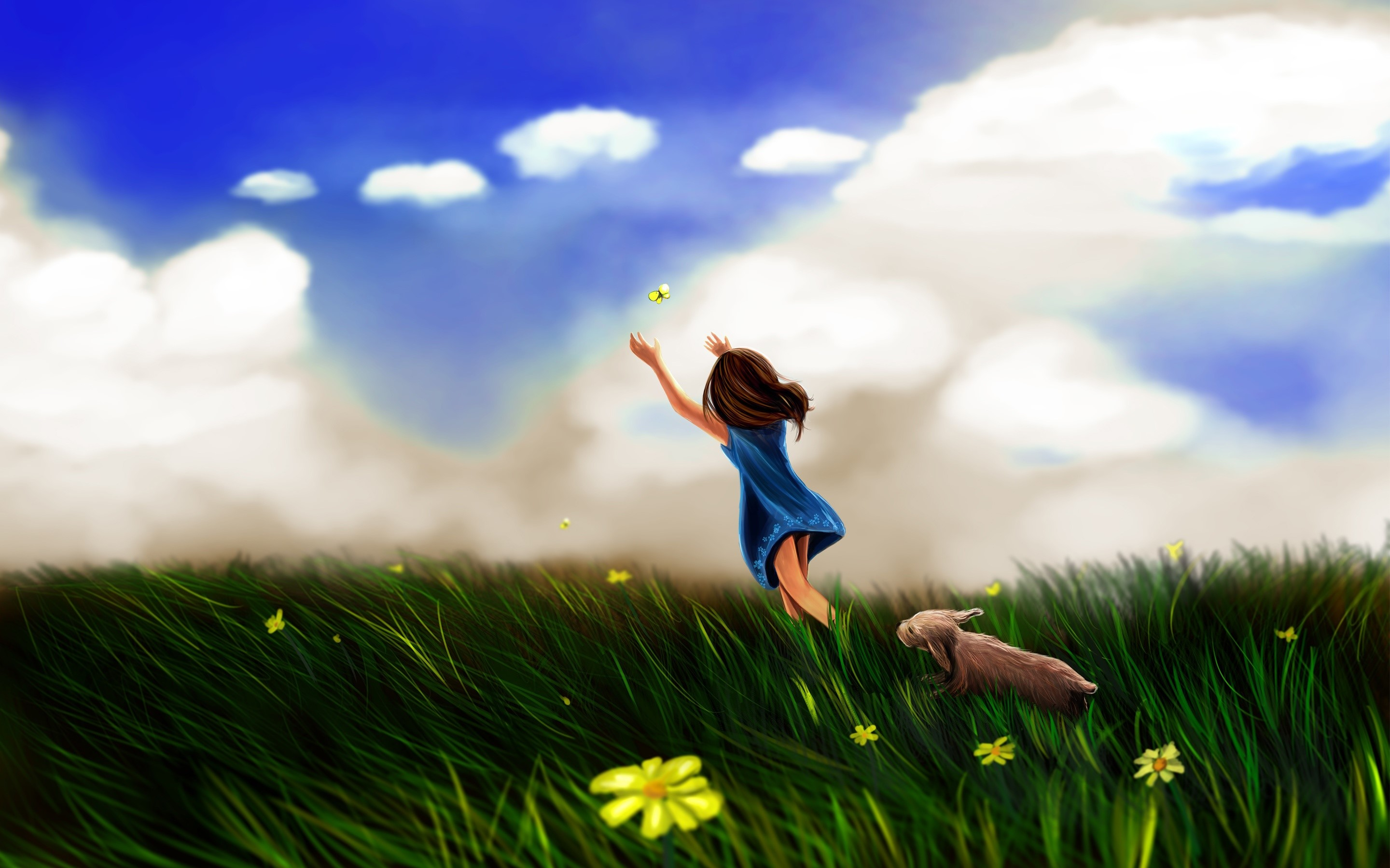 Wallpaper A girl chasing a butterfly
