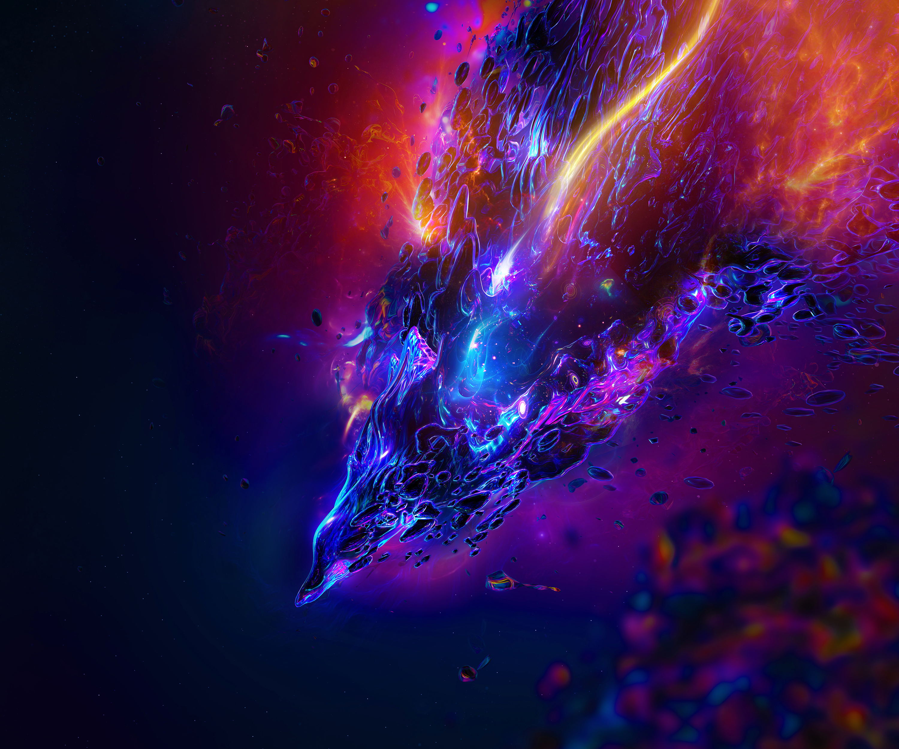 Abstract Universe Neon Lights Wallpaper Id4423