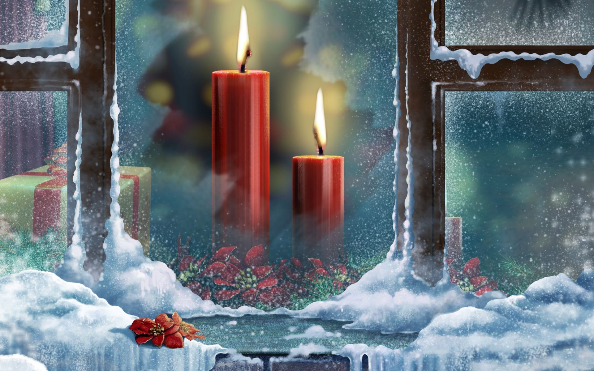 Christmas Candles Wallpaper Full Hd Id2871