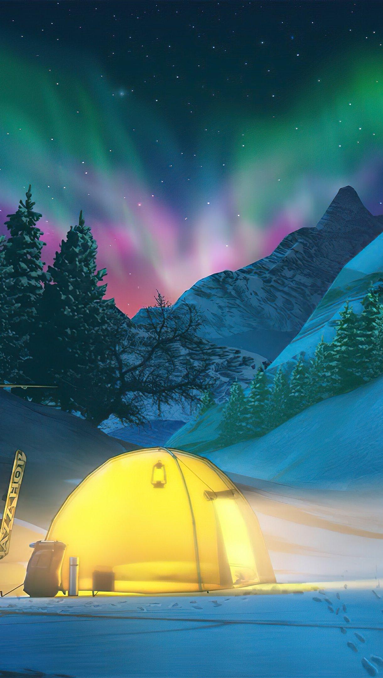 Fondos de pantalla Acampando durante el invierno con auroras polares de fondo Vertical