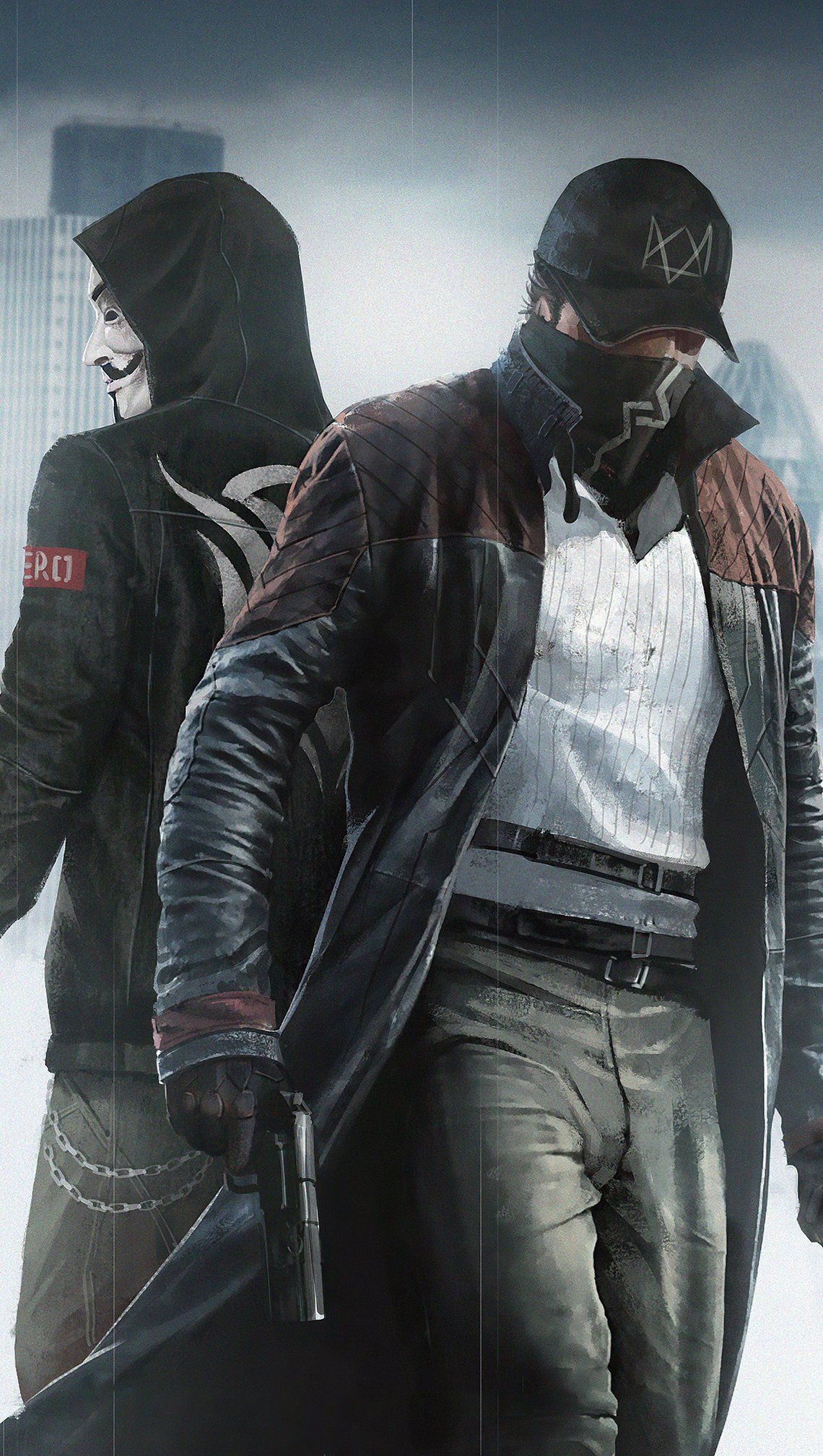Wallpaper Aiden Pearce and The Anonymous Watch dogs  Resurgence Vertical