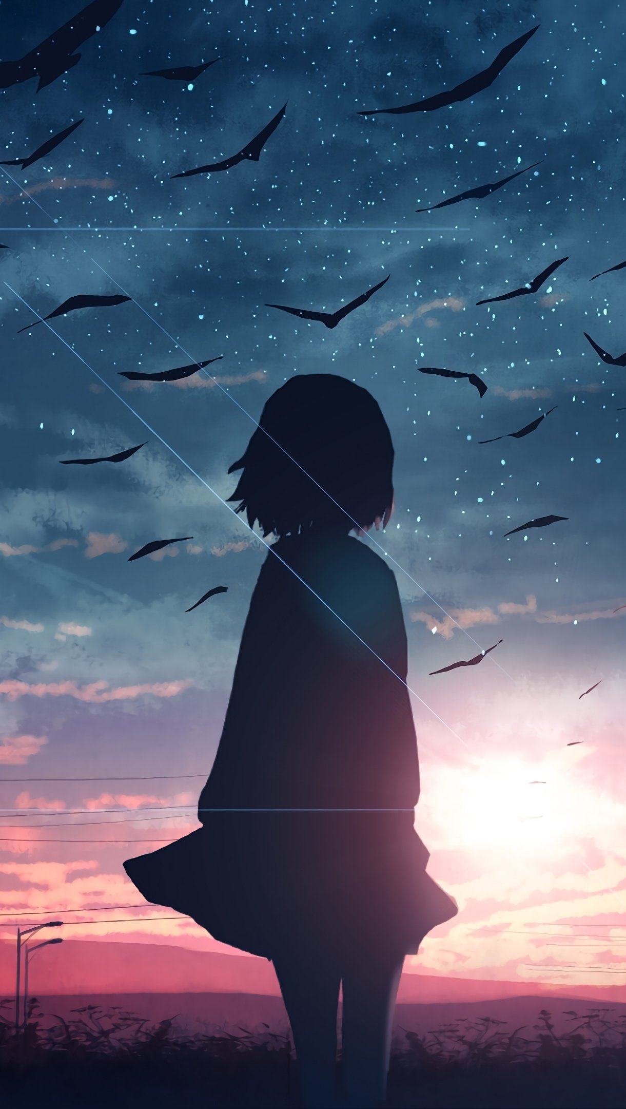 Wallpaper Sunrise Anime Girl Silhouette Scenery Vertical