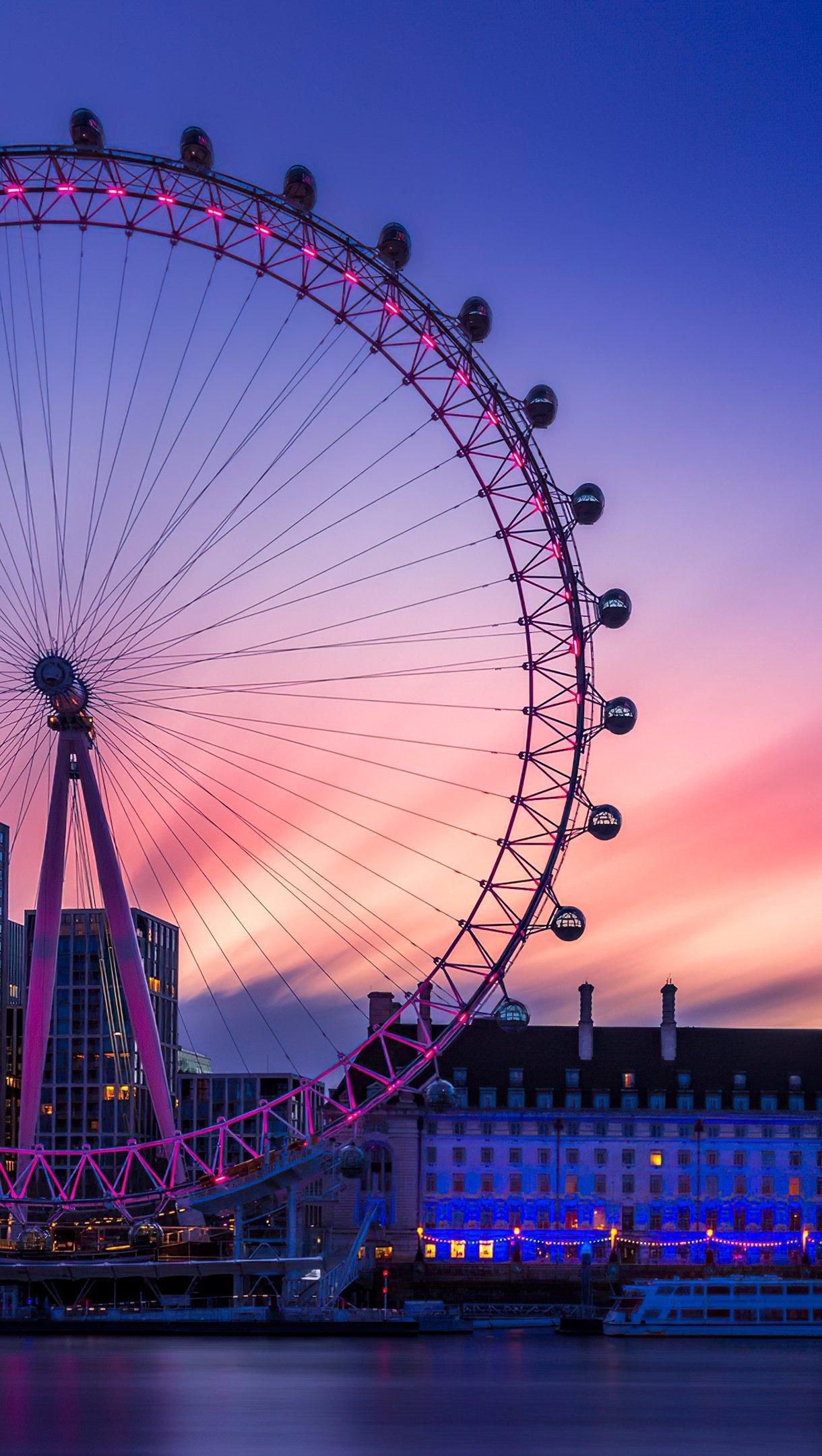 Fondos de pantalla Amanecer en el London Eye Vertical