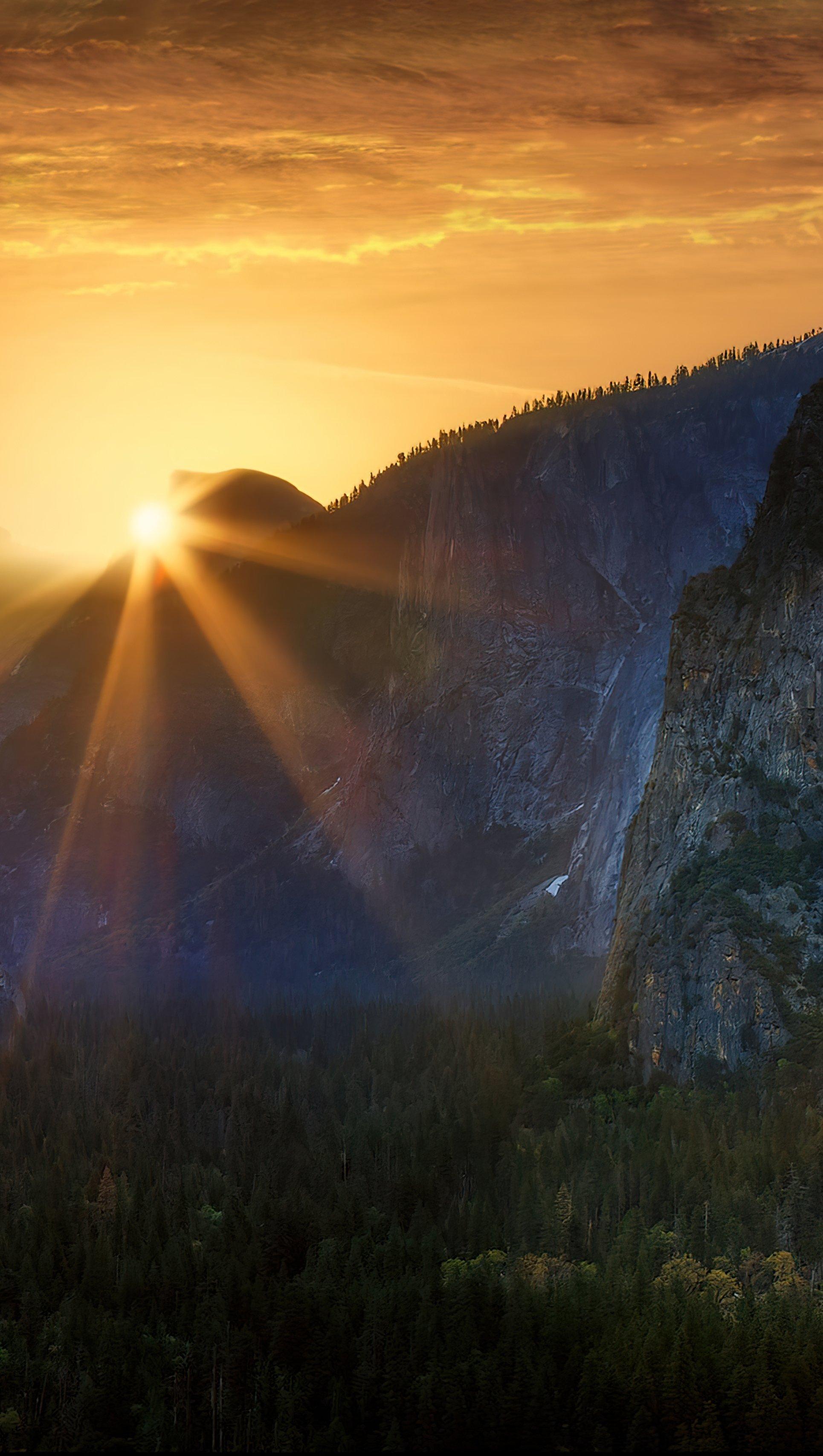 Wallpaper Sunrise at Yosemite National Park Vertical