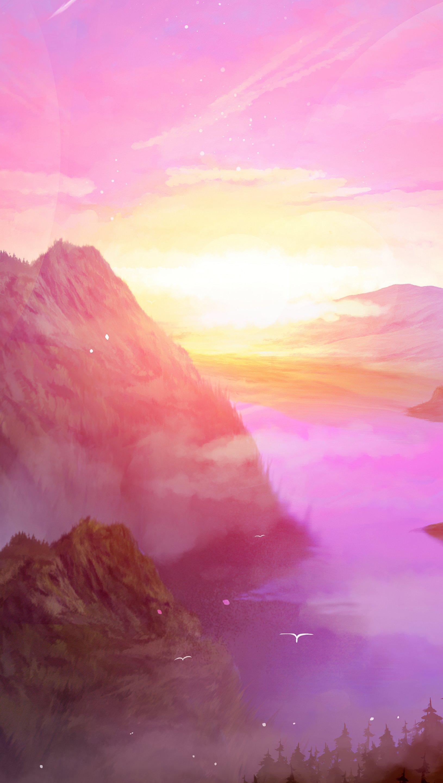 Fondos de pantalla Amanecer en las montañas Arte Digital Vertical
