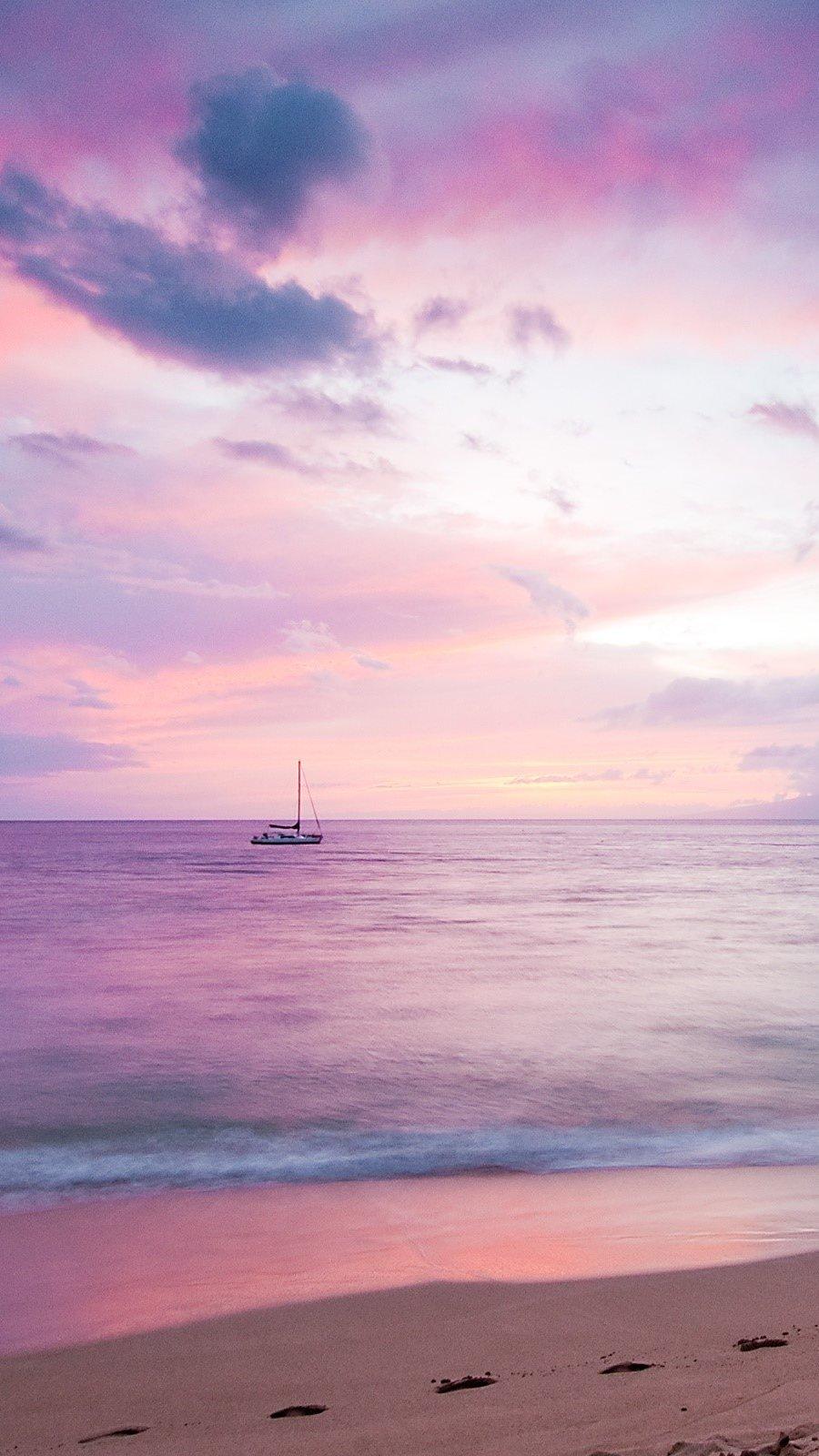 Wallpaper Sunrise on an island Vertical