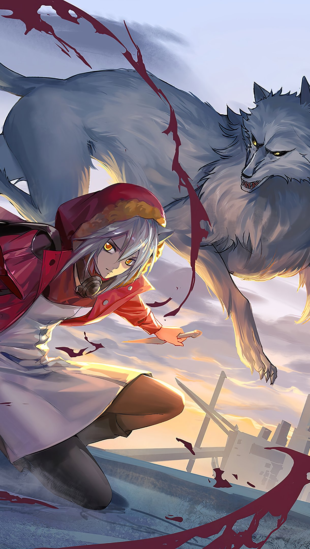 Anime Wallpaper Amiya with wolves Arknights Vertical