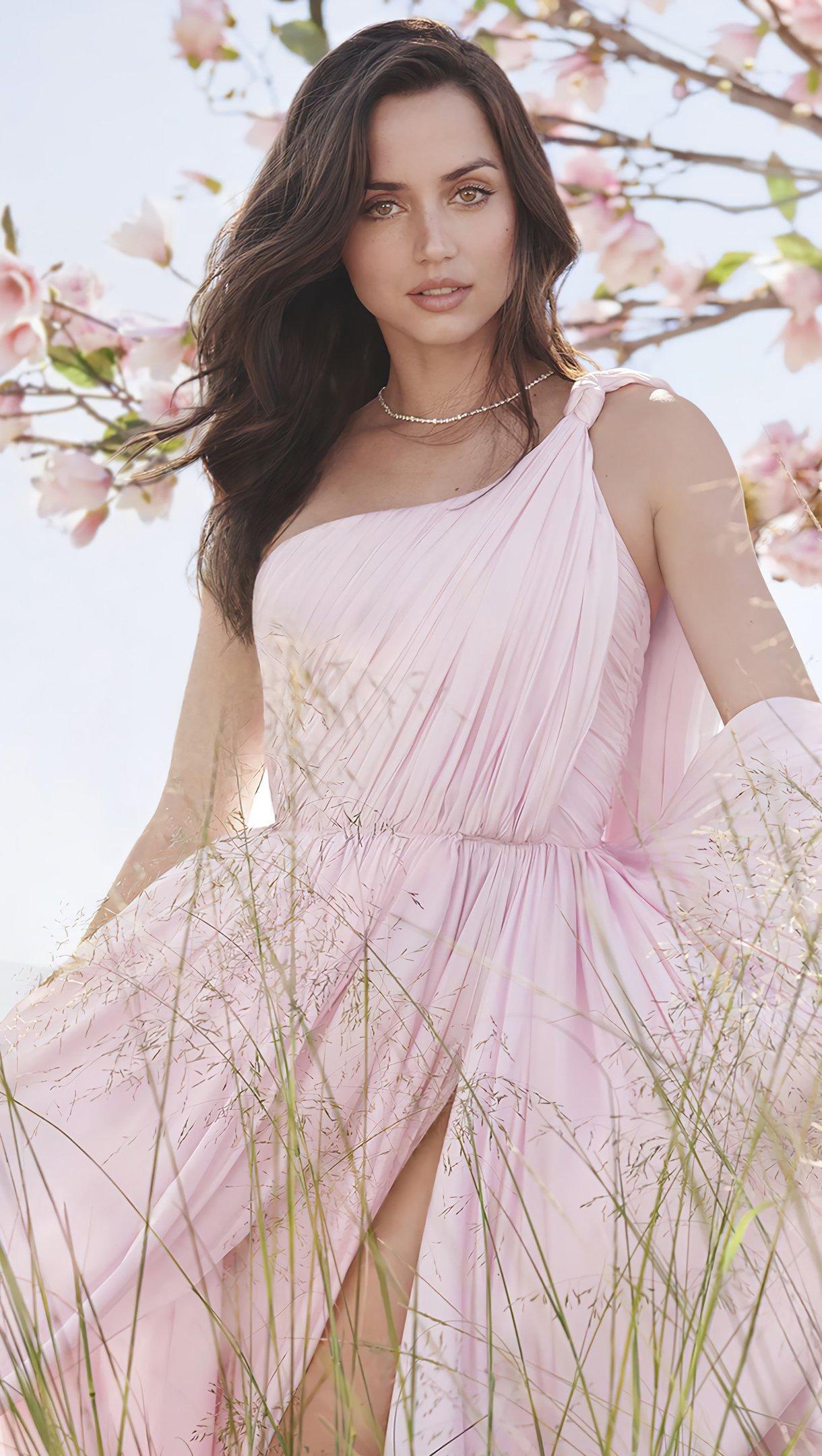 Wallpaper Ana de armas pink dress in the countryside Vertical