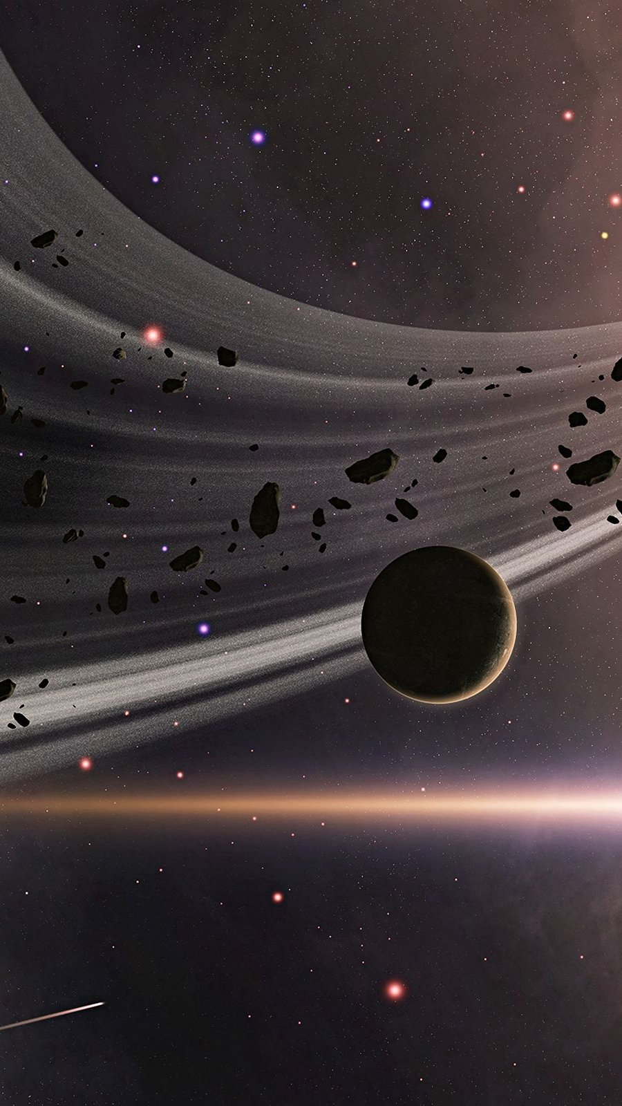 Fondos de pantalla Anillo de asteroides en el espacio Vertical