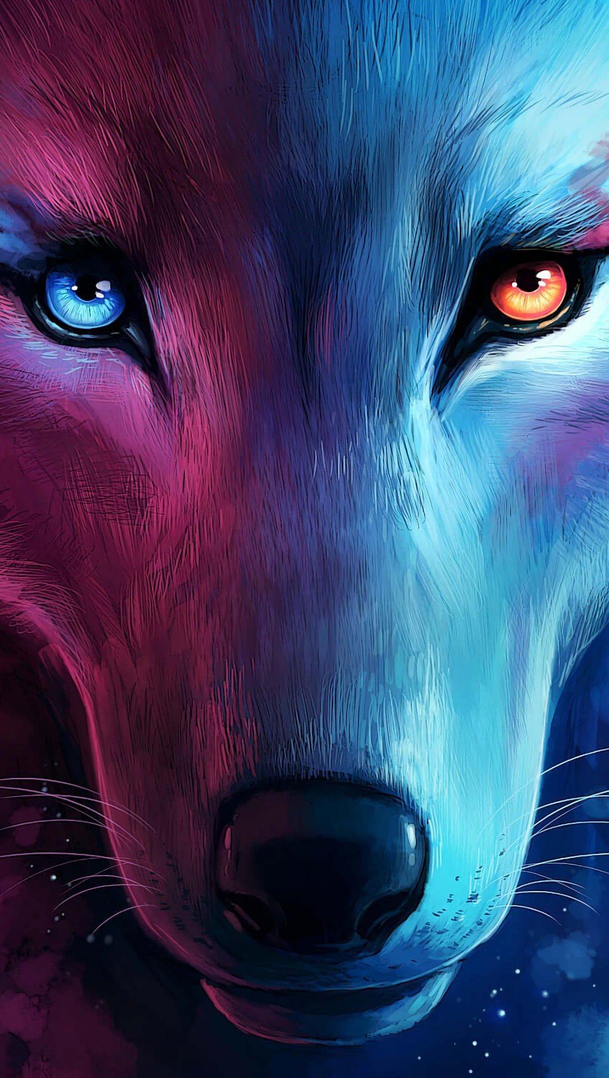 Fondos de pantalla Animación artística de lobo Vertical