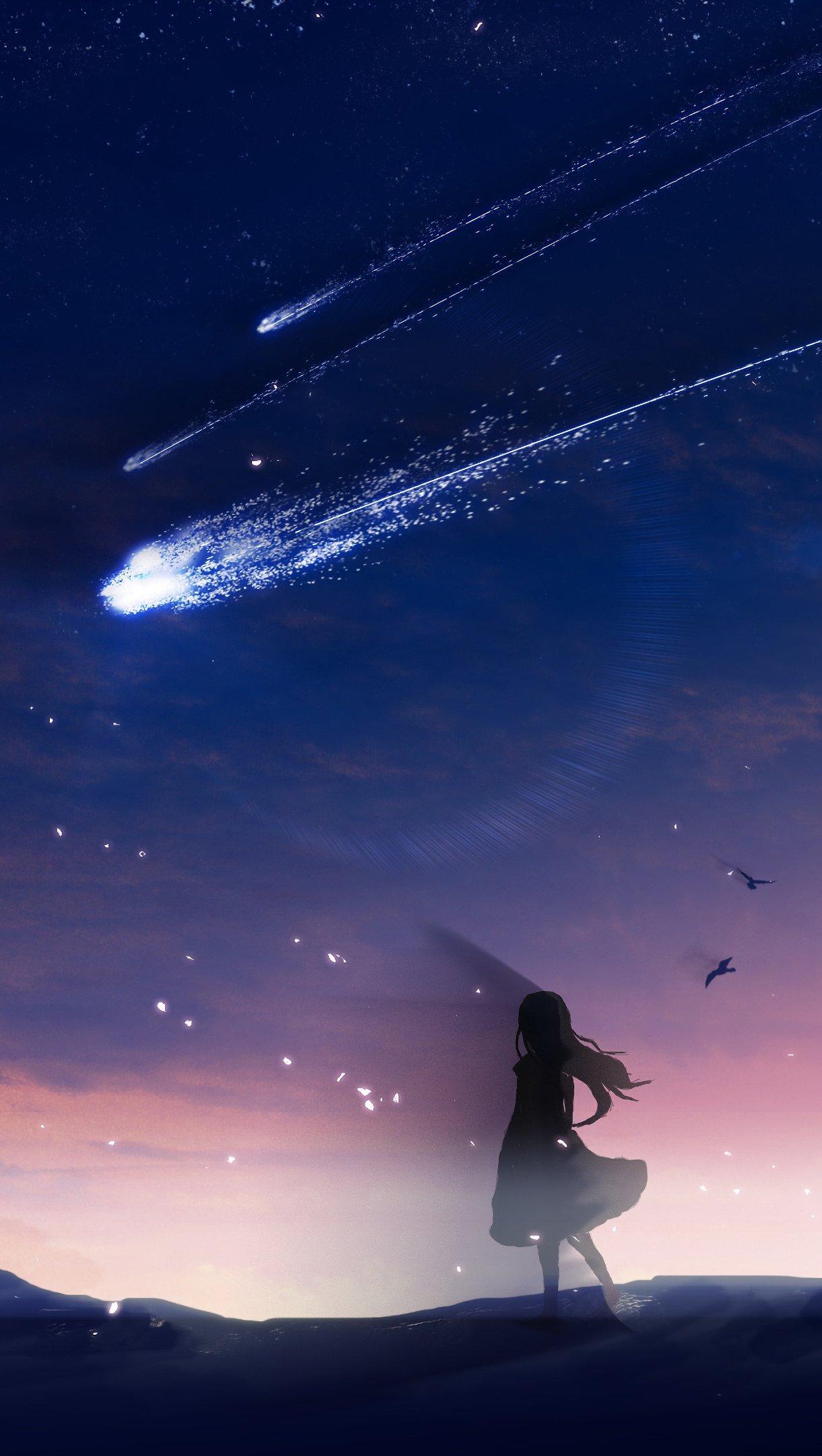 Wallpaper Anime kite in sky dusk Vertical