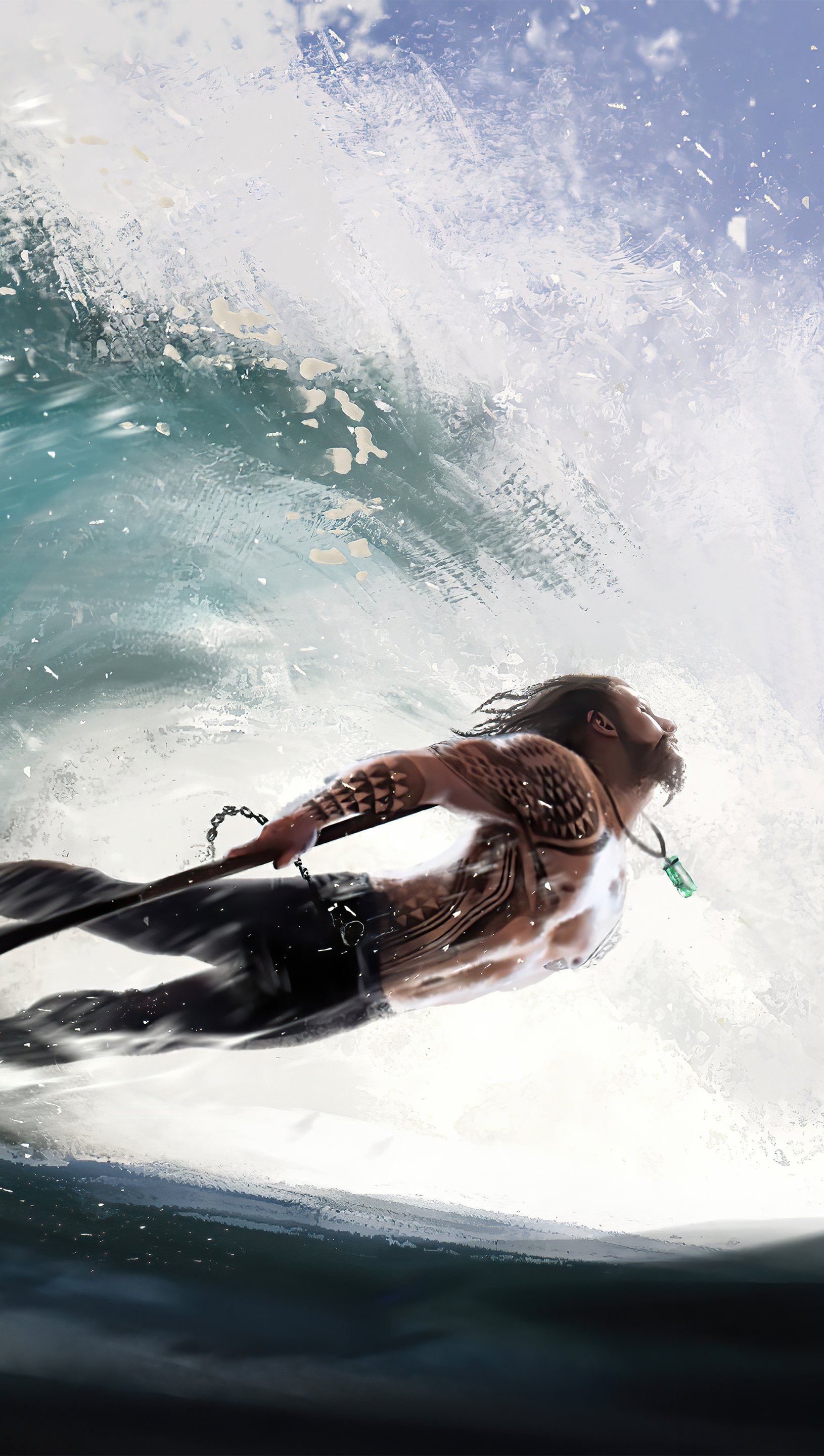 Wallpaper Aquaman within wave Vertical