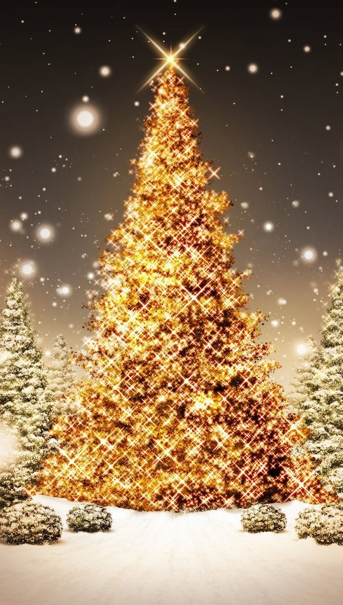 Wallpaper Christmas trees with flashes of golden lights Vertical
