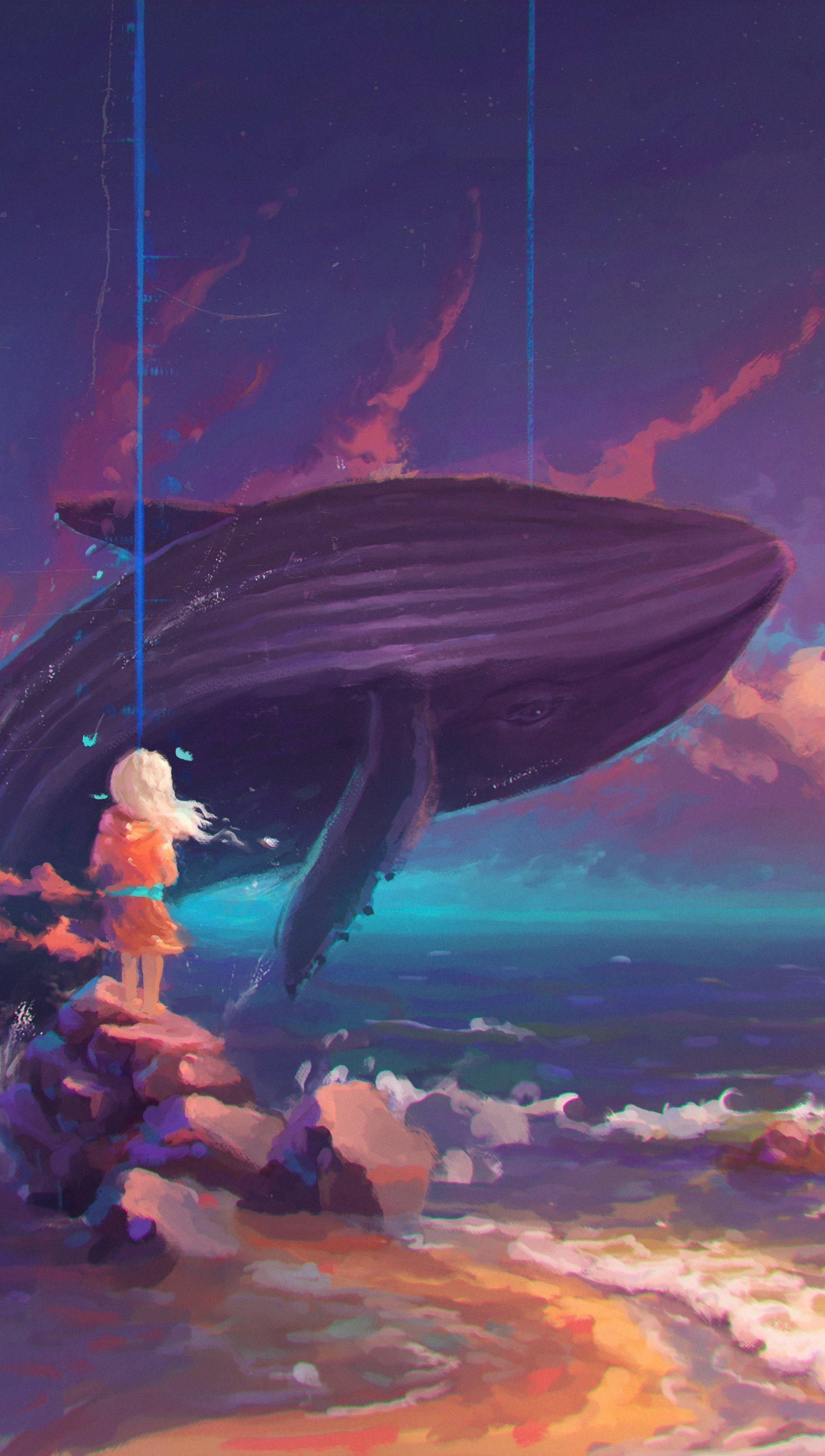 Fondos de pantalla Arte de ballena saltando en el oceano Vertical