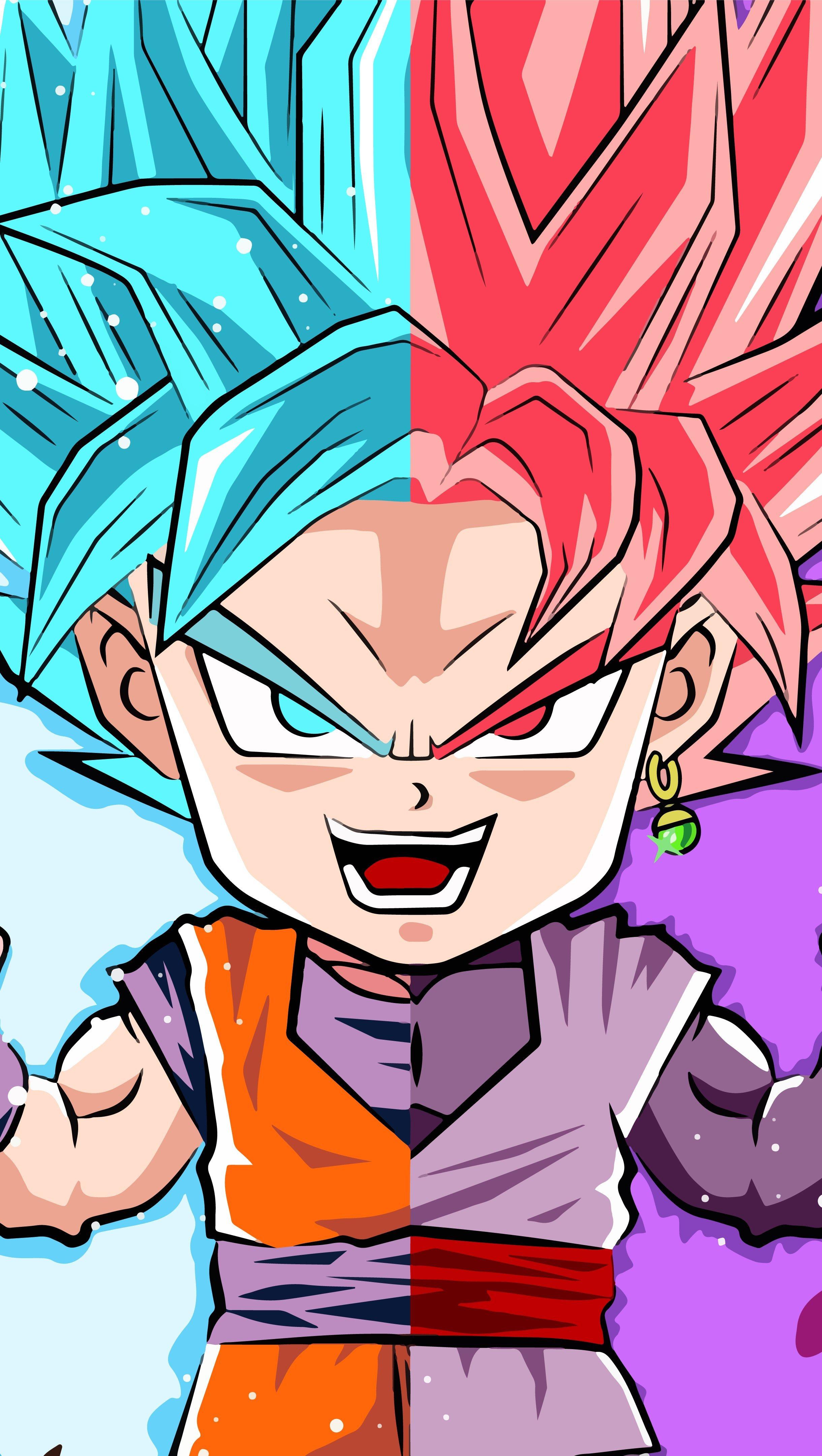 Fondos de pantalla Anime Arte Dragon Ball Super Goku and Black Goku Vertical