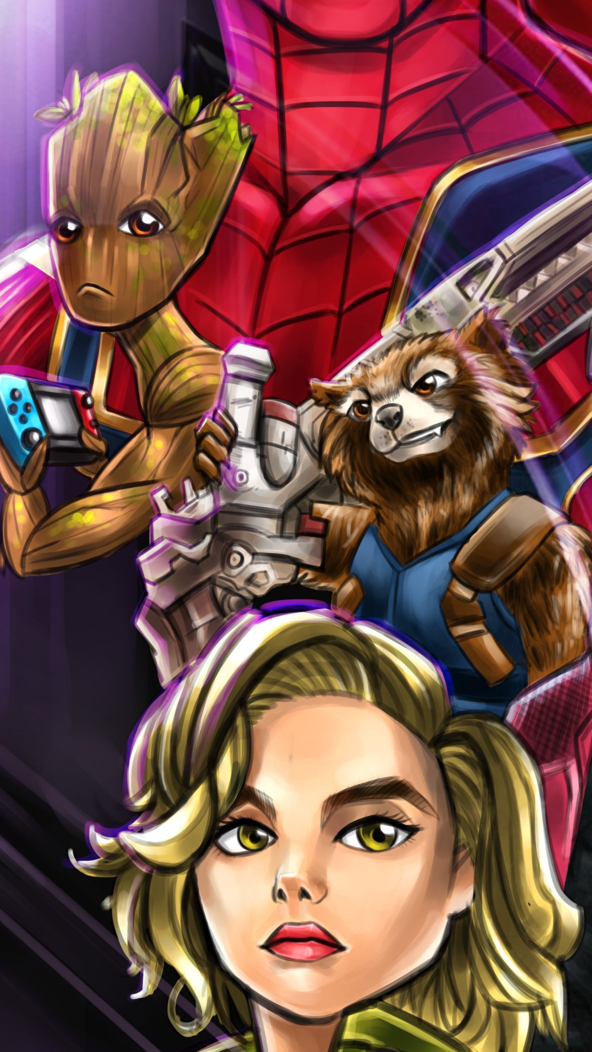 Wallpaper Artwork of characters of Guardians of the Galaxy in Avengers Vertical