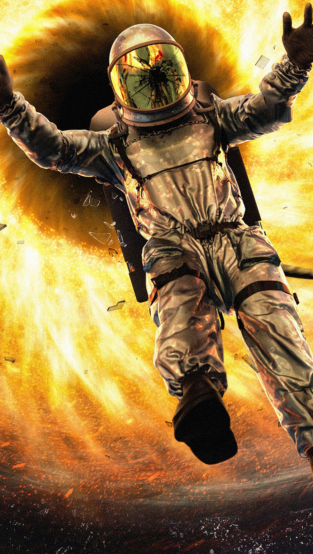 Fondos de pantalla Astronauta cayendose a hoyo negro Vertical
