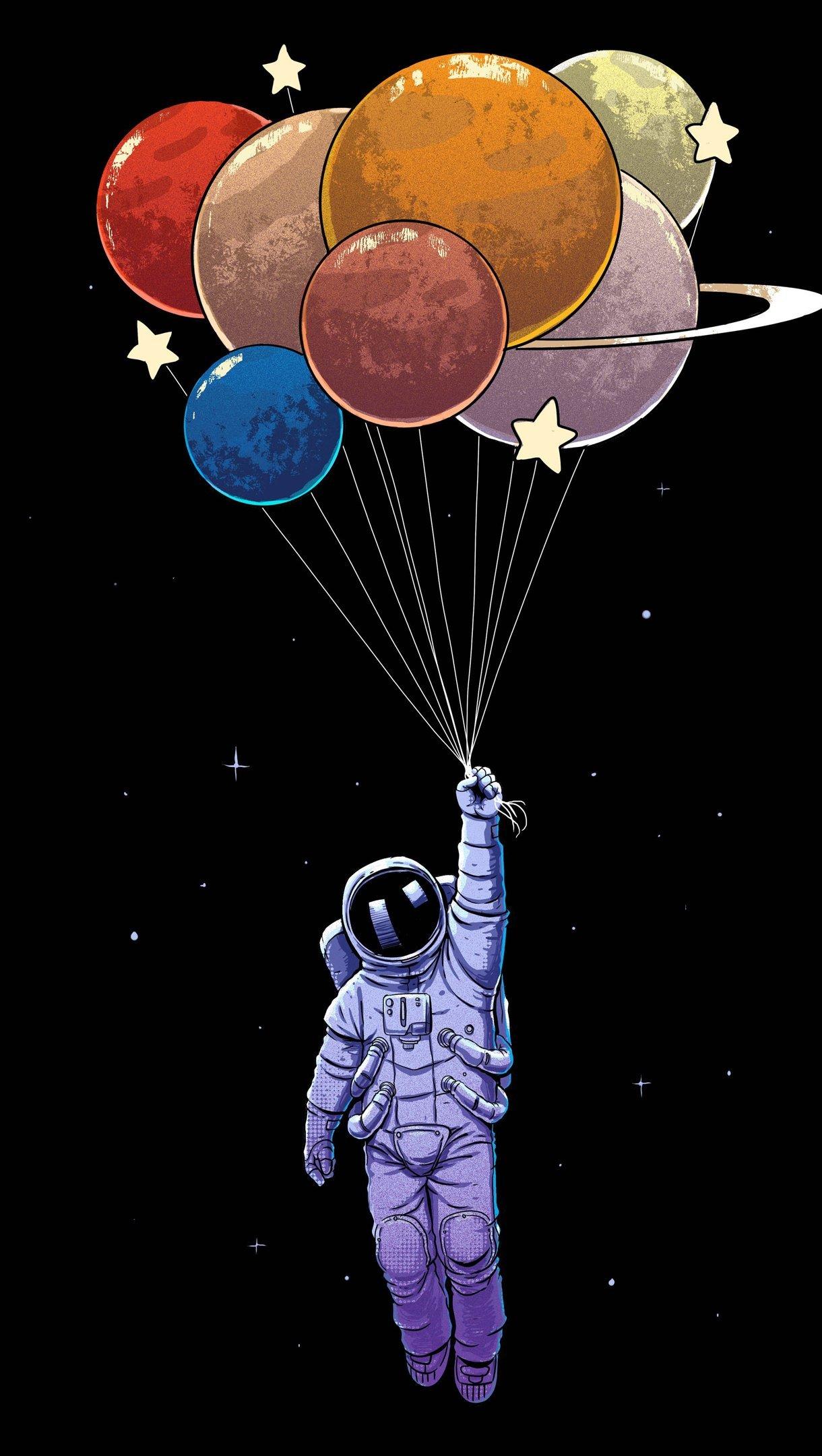 Fondos de pantalla Astronauta con globos como planetas Vertical
