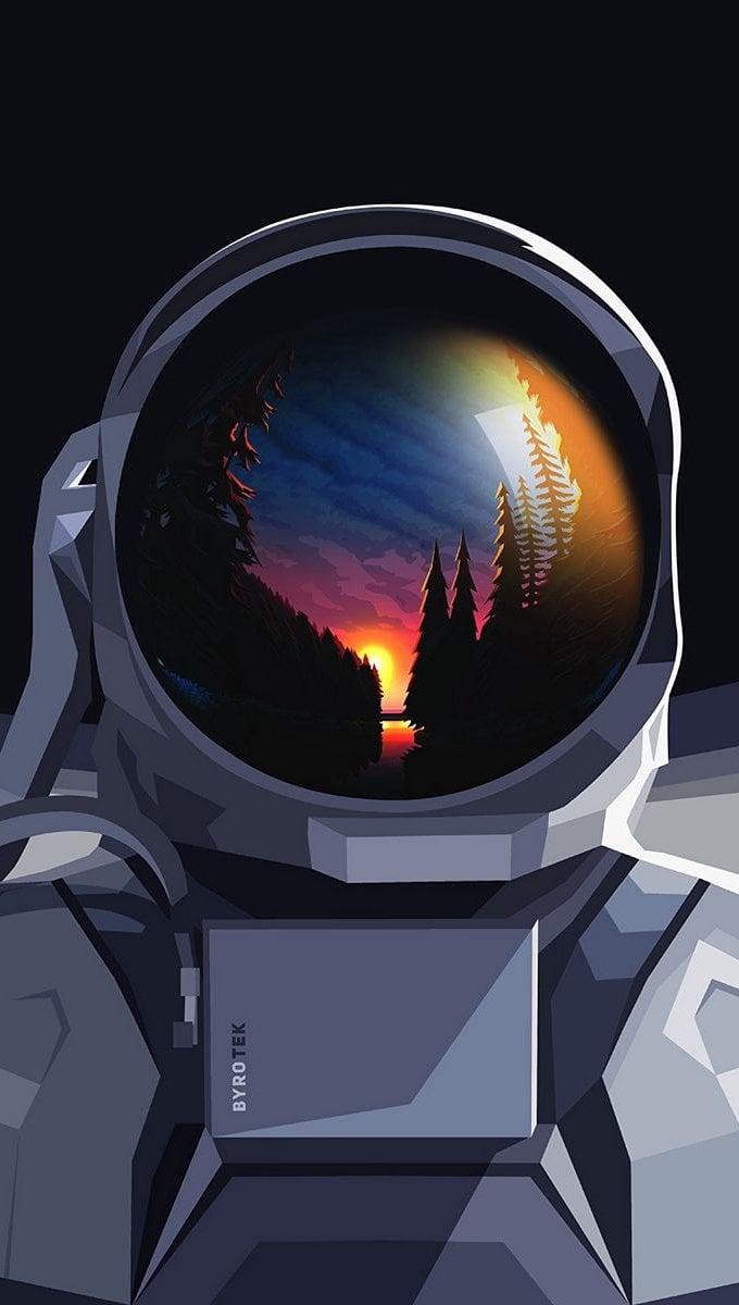 Fondos de pantalla Astronauta con paisaje reflejado en casco Vertical