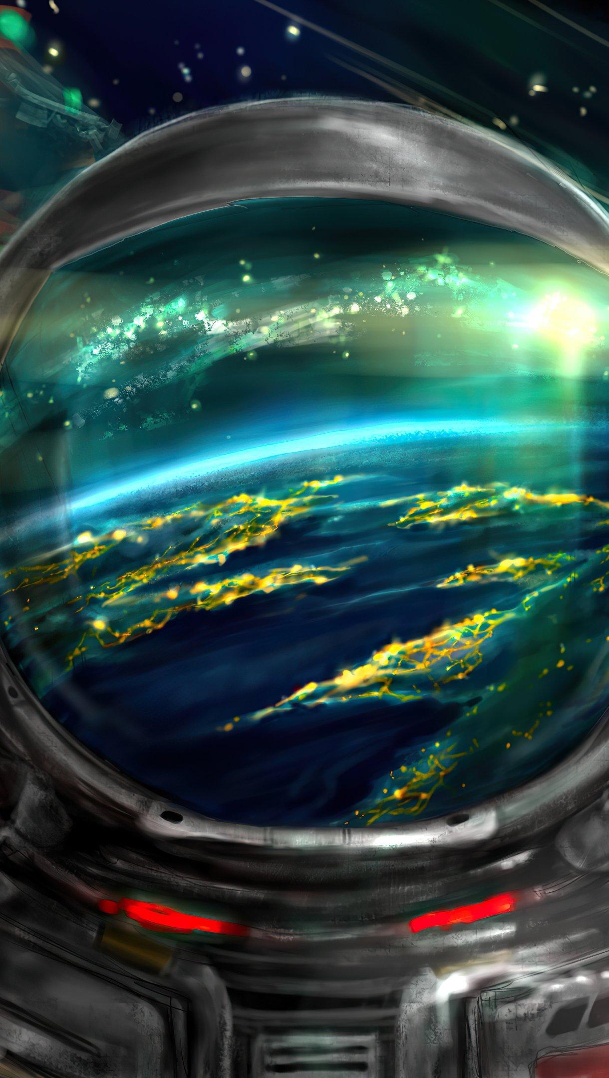Fondos de pantalla Astronauta con universo de fondo Vertical