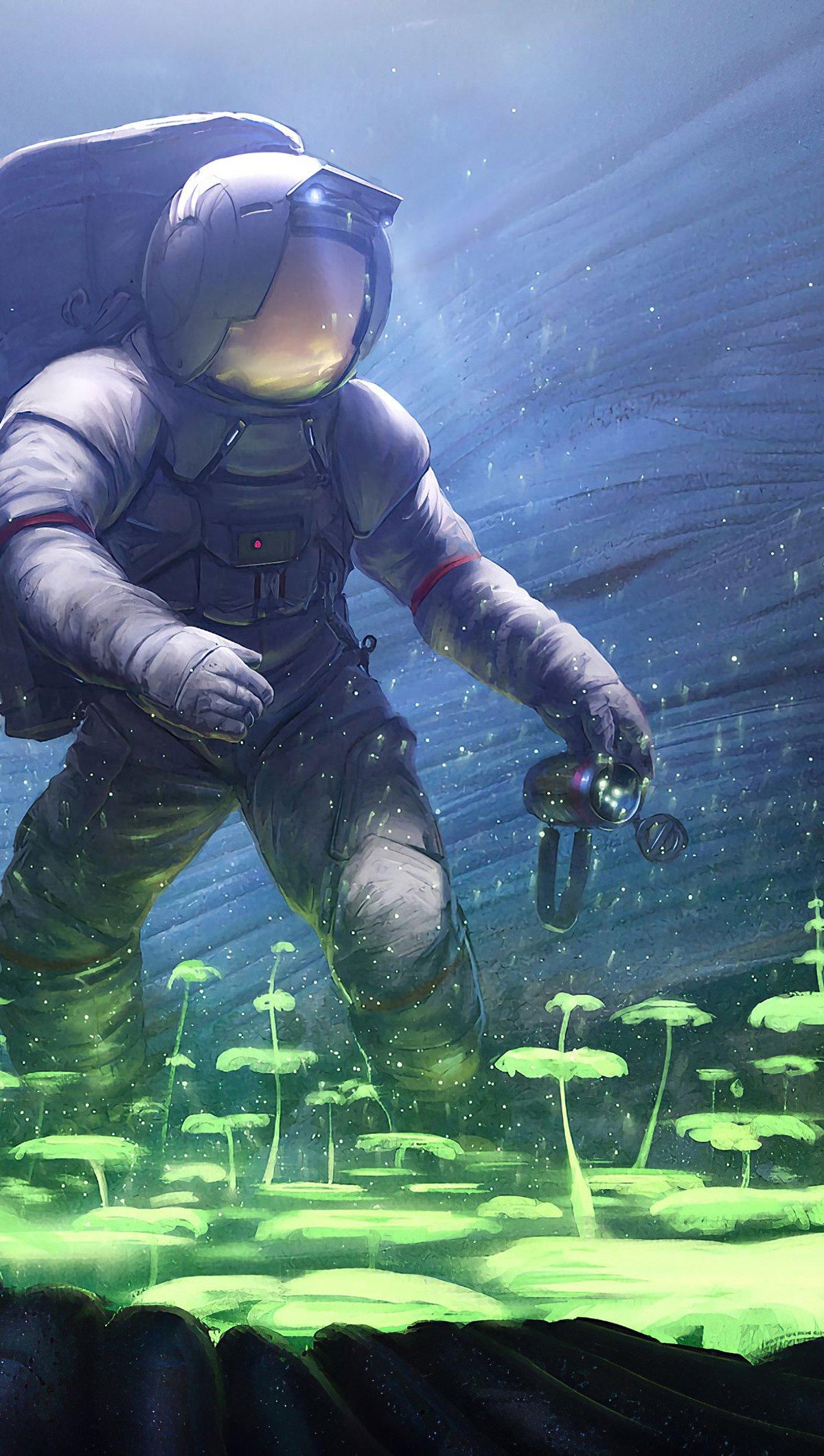 Fondos de pantalla Astronauta de ciencia ficción plantando arboles bajo el agua Vertical