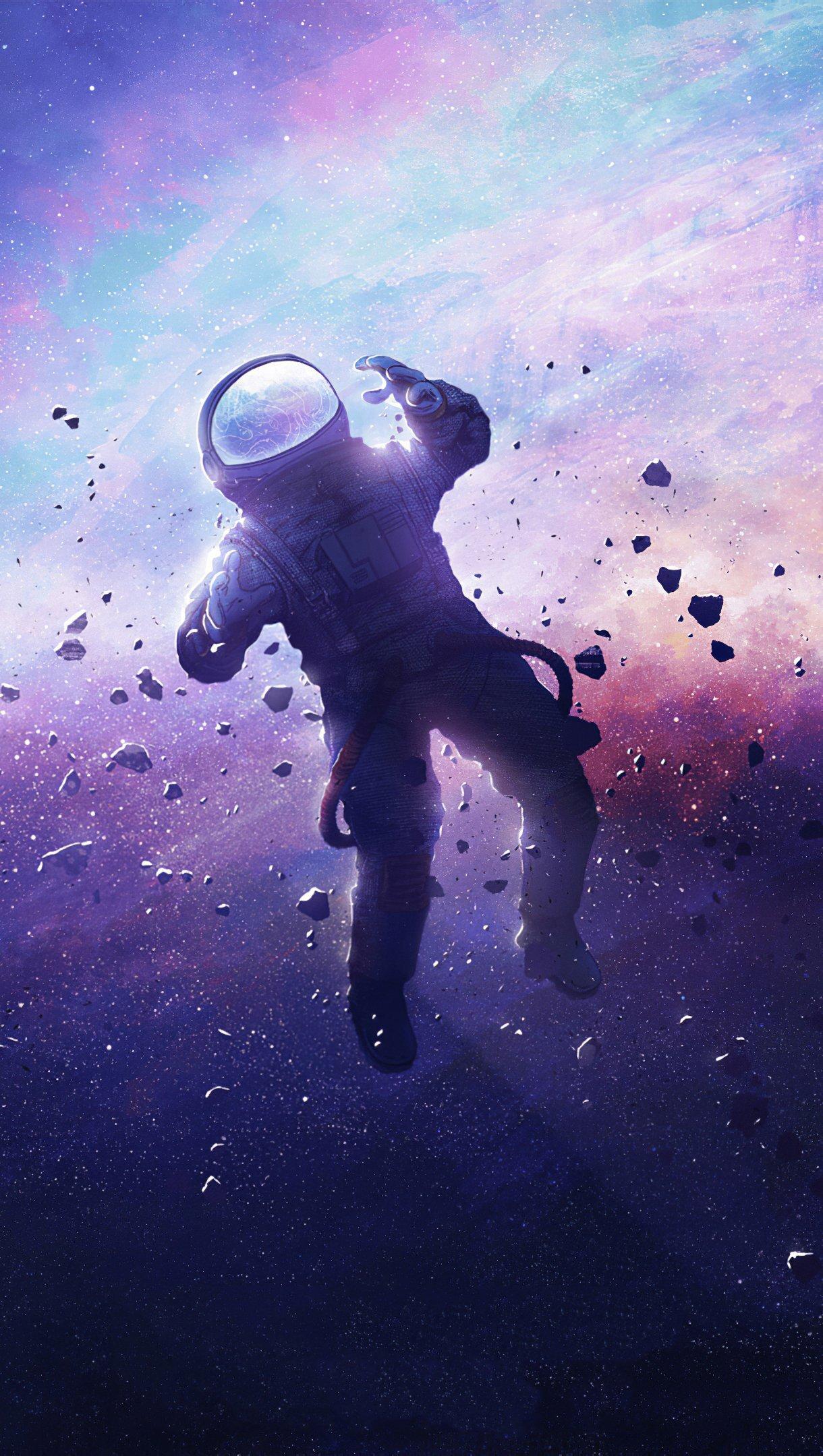 Wallpaper Astronaut lost in space Vertical