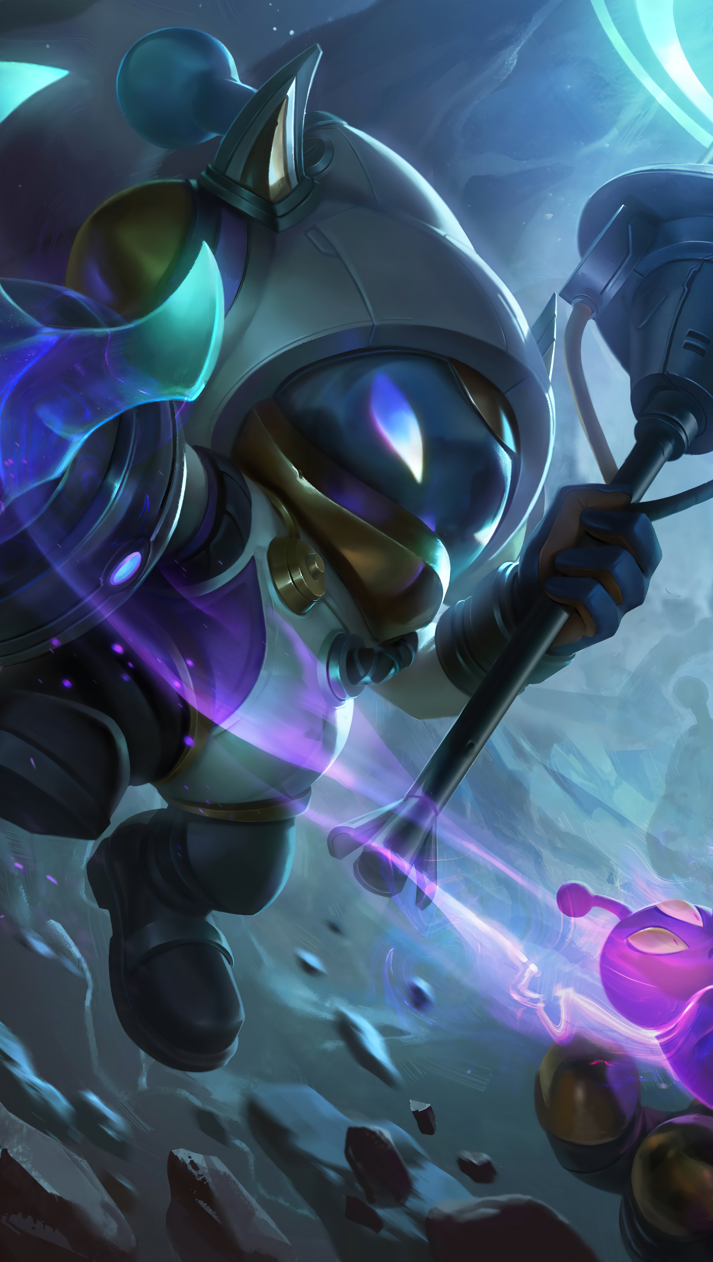 Fondos de pantalla Astronauta Veigar y Rammus League of Legends Splash Art Vertical