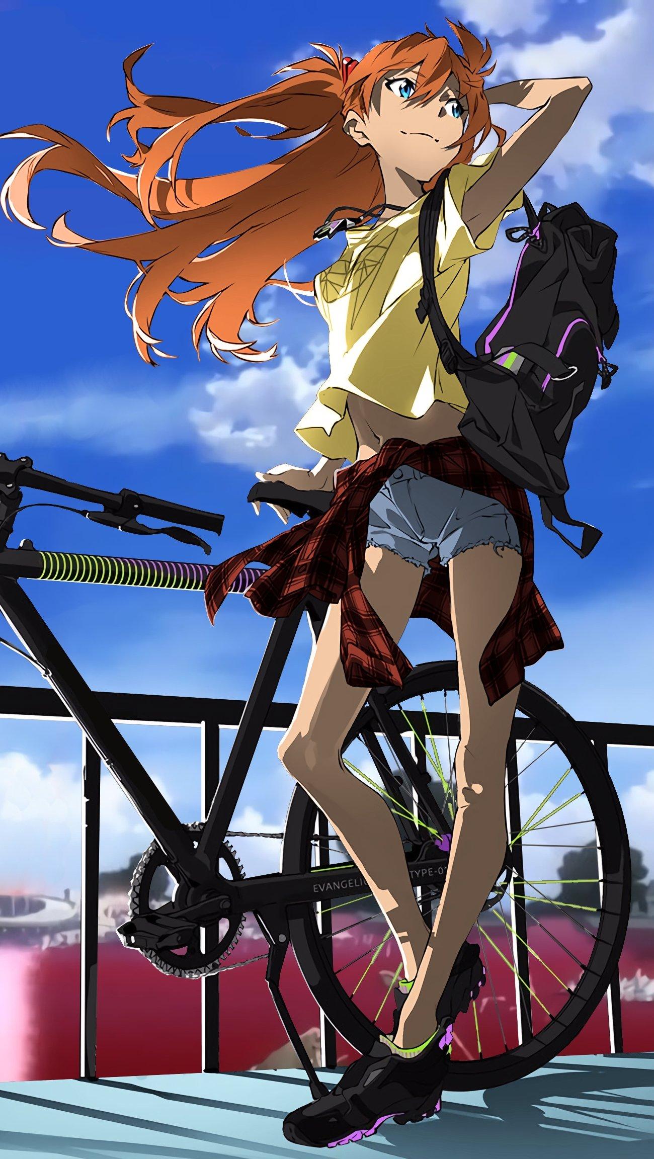 Fondos de pantalla Anime Asuka Langley en bicicleta Vertical