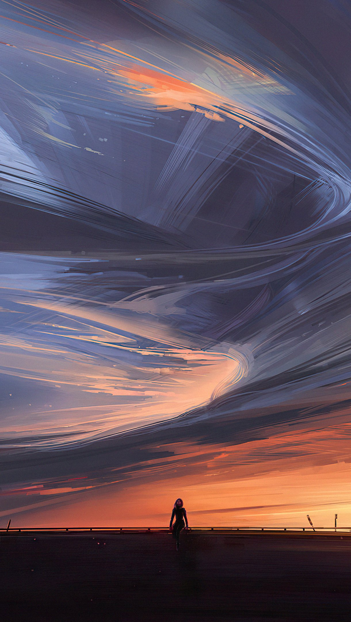 Wallpaper Sunset with clouds in swirl and thunder Vertical