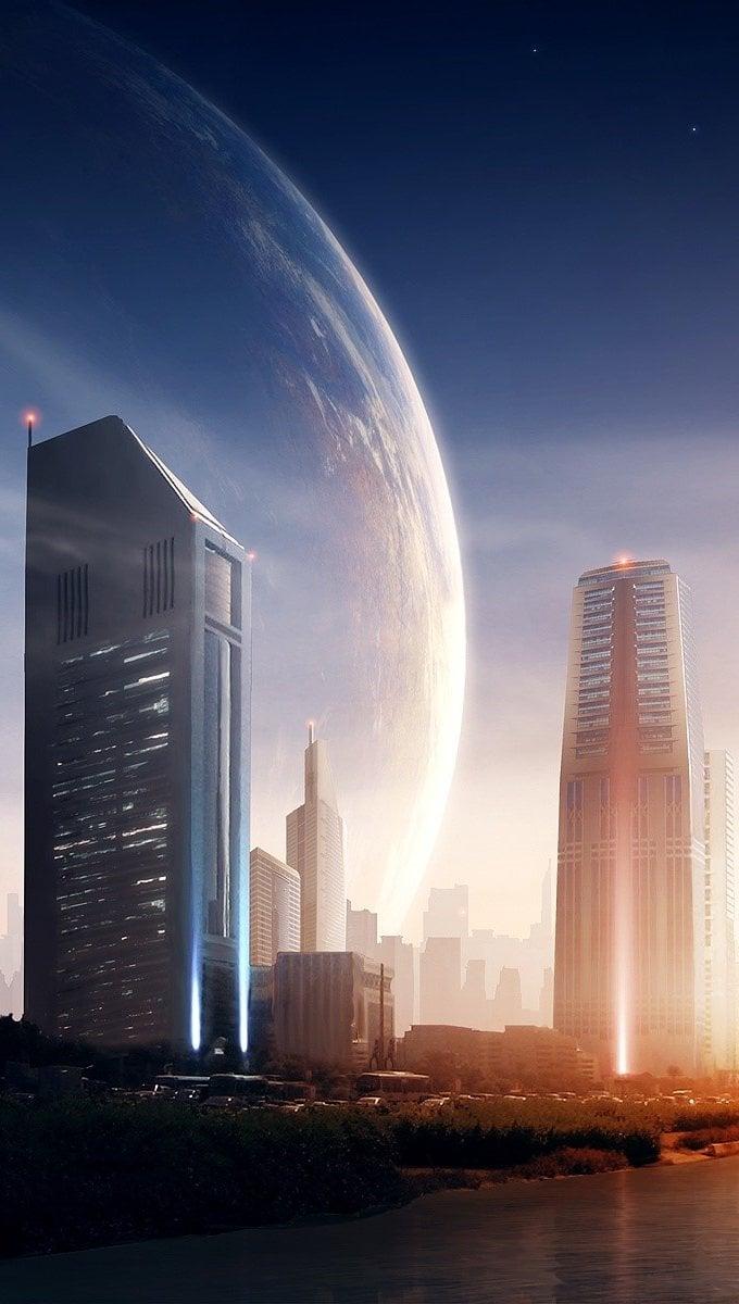Fondos de pantalla Atardecer en la ciudad Vertical