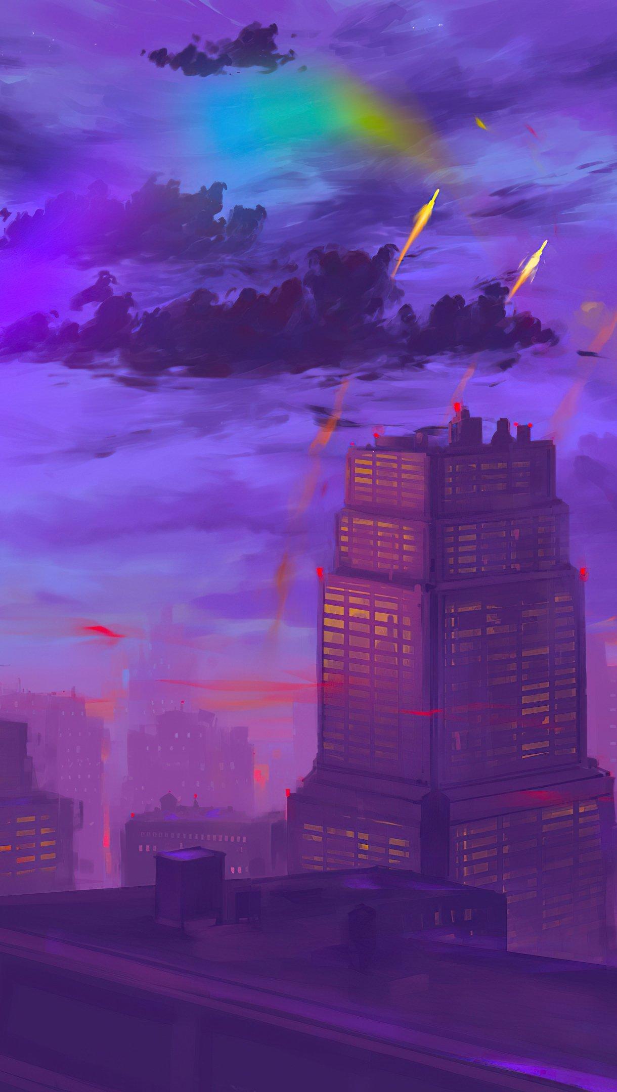 Wallpaper Sunset in the city Illustration Vertical
