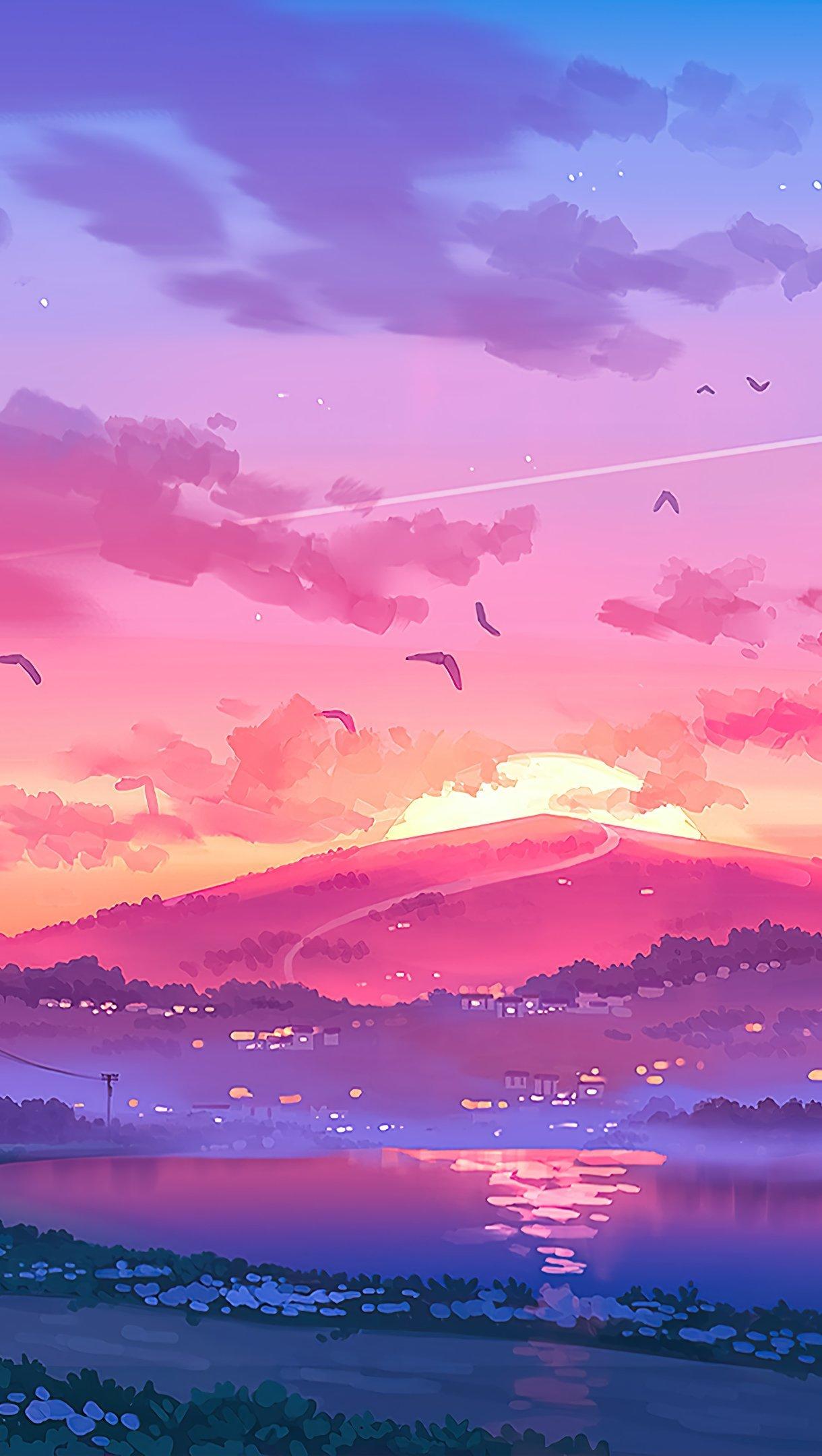 Fondos de pantalla Atardecer en la montañas Ilustración Vertical