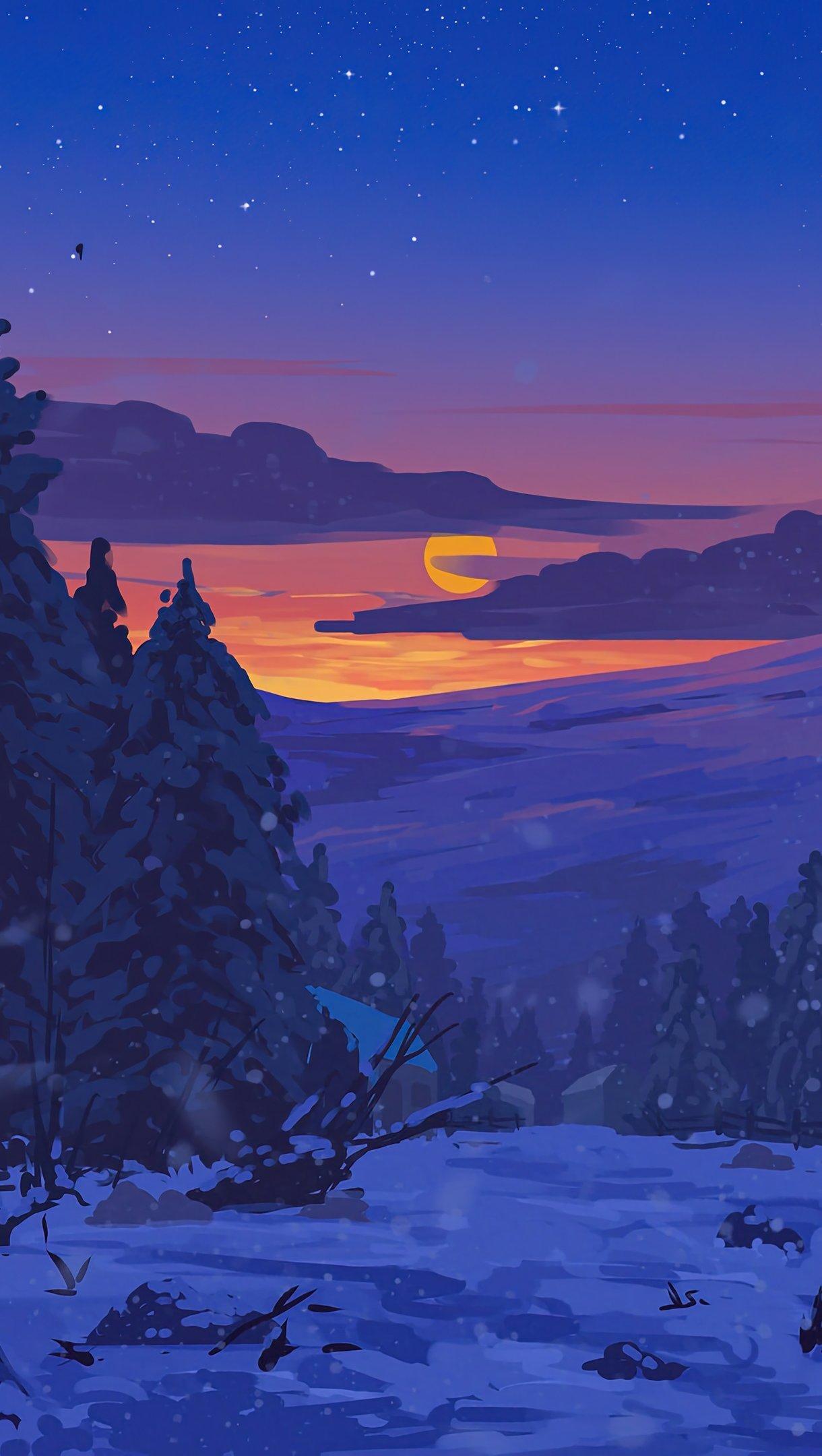 Fondos de pantalla Atardecer en paisaje nevado Arte Digital Vertical