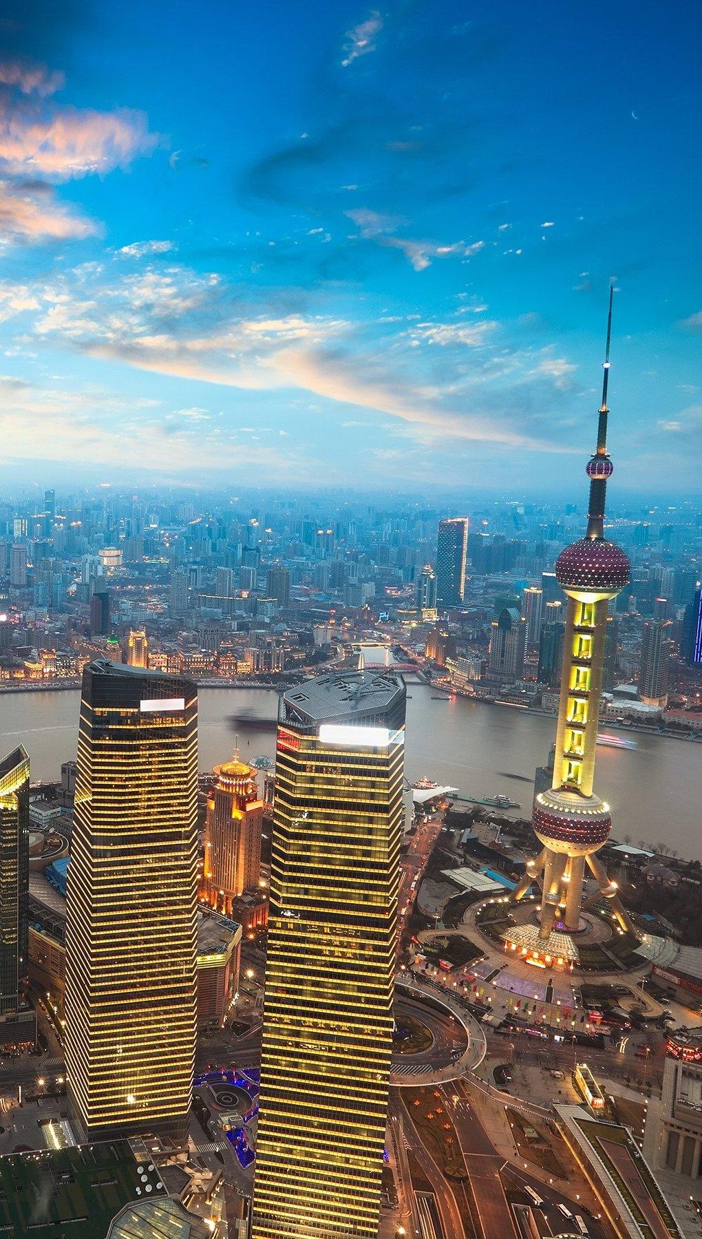 Fondos de pantalla Atardecer en Shanghai Vertical