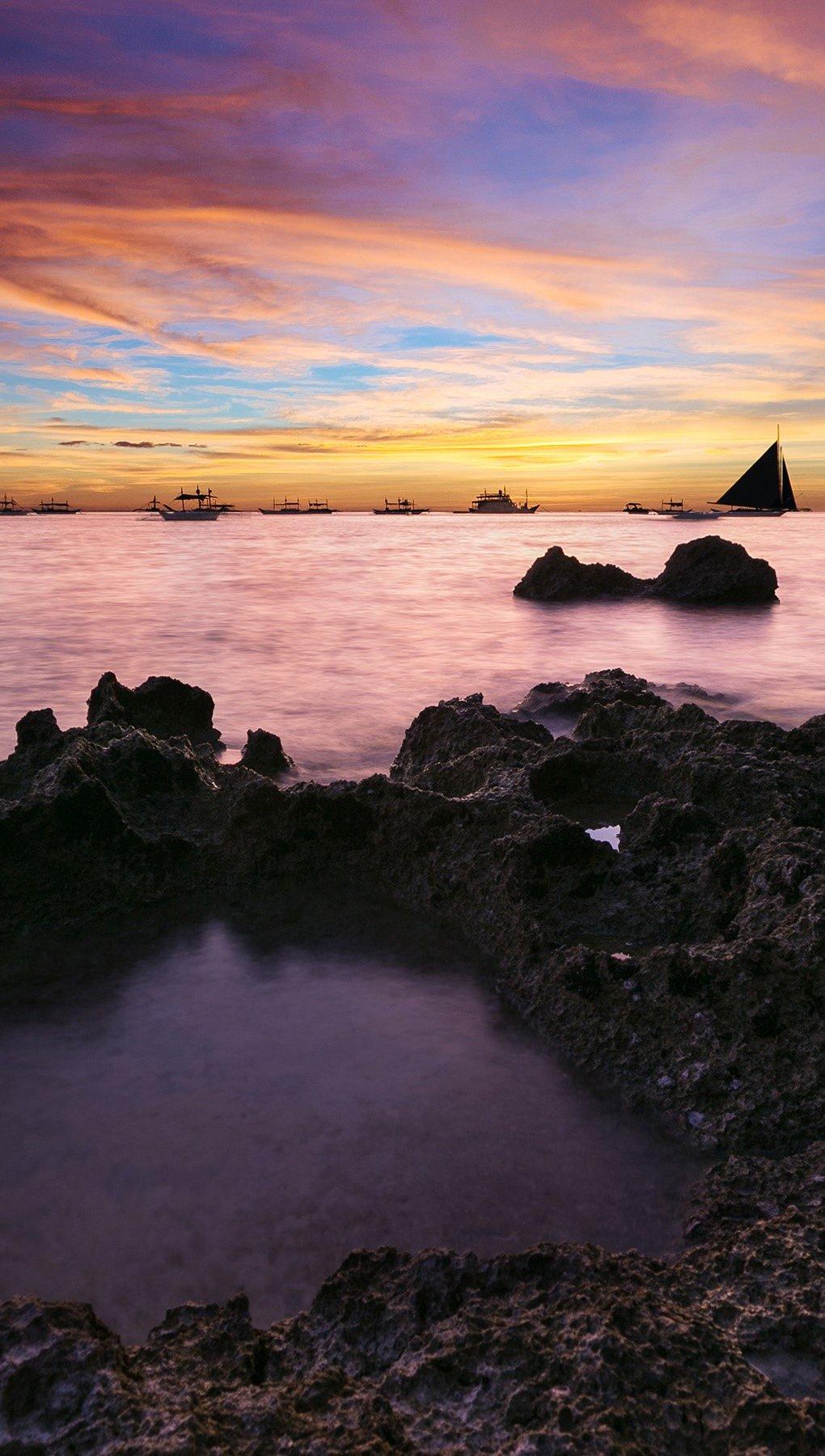 Wallpaper Sunset on a coast Vertical