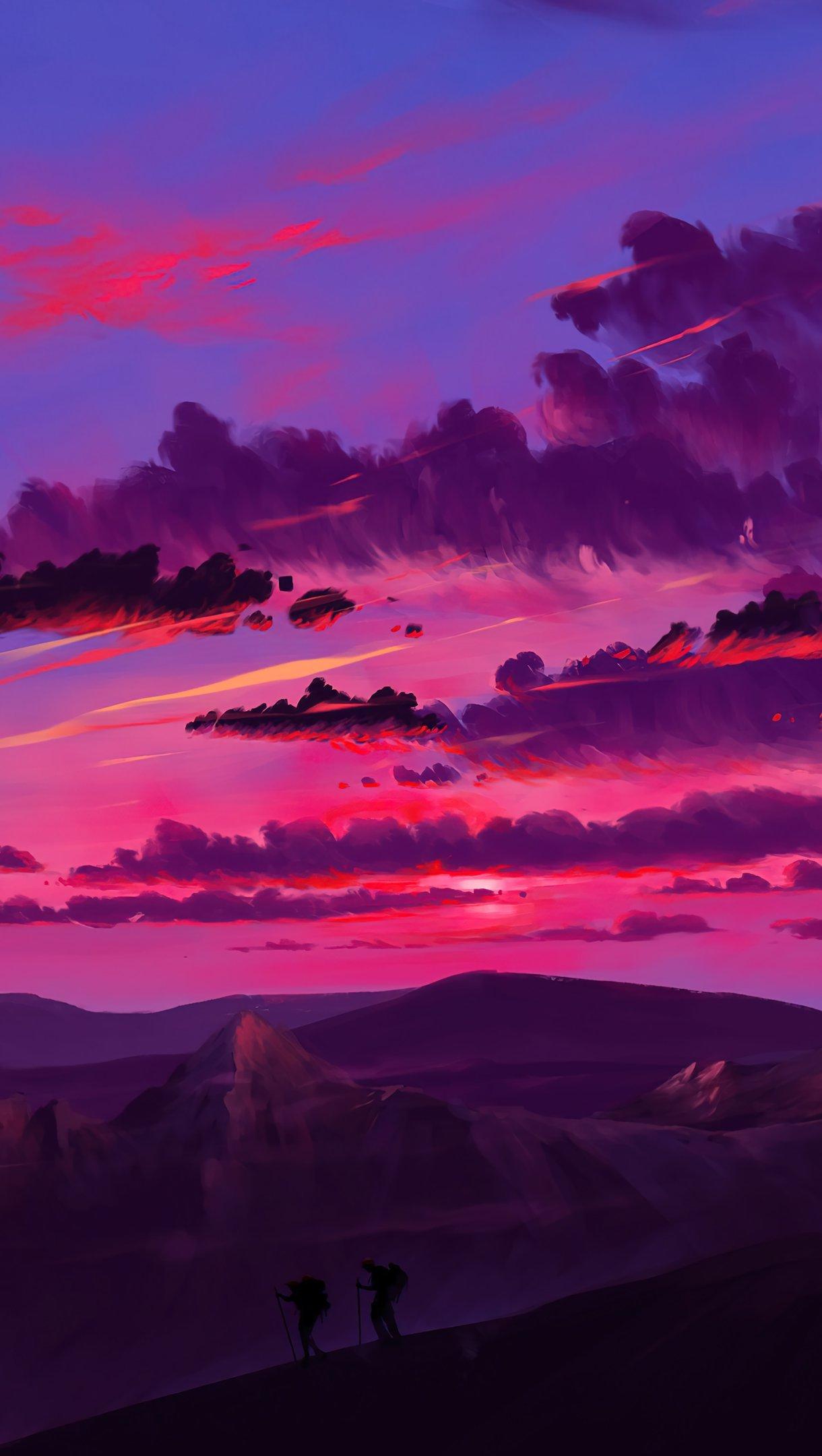 Fondos de pantalla Atardecer rosado Arte Digital Vertical