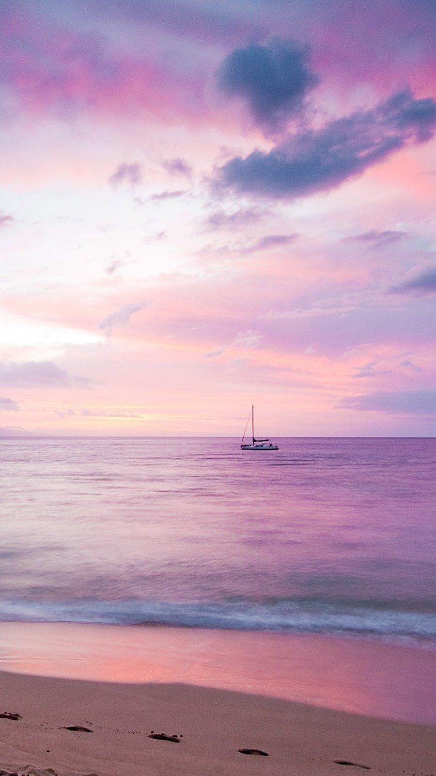 Fondos de pantalla Atardecer rosado en la playa Vertical