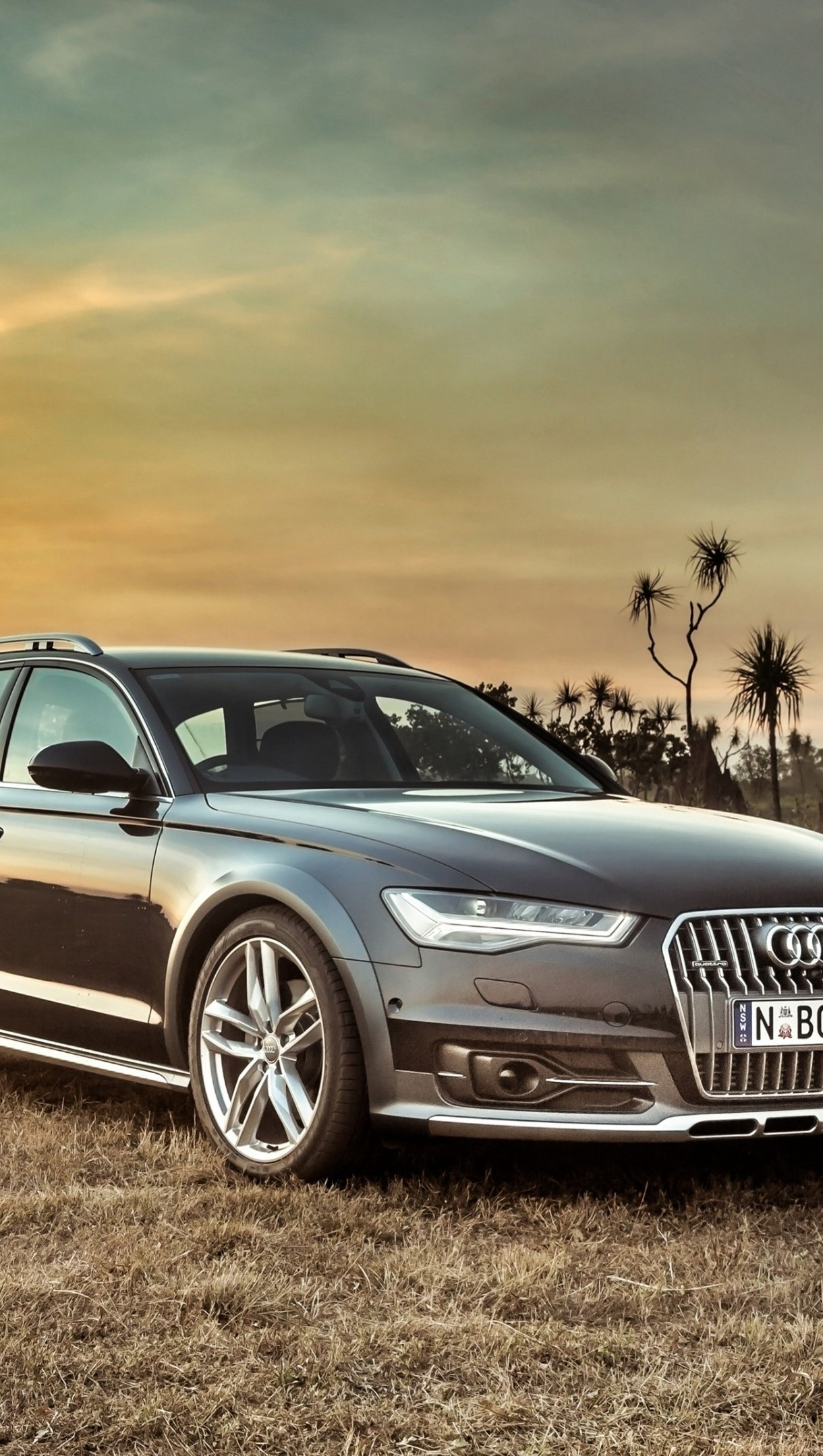 Wallpaper Audi A6 Allread at sunset Vertical